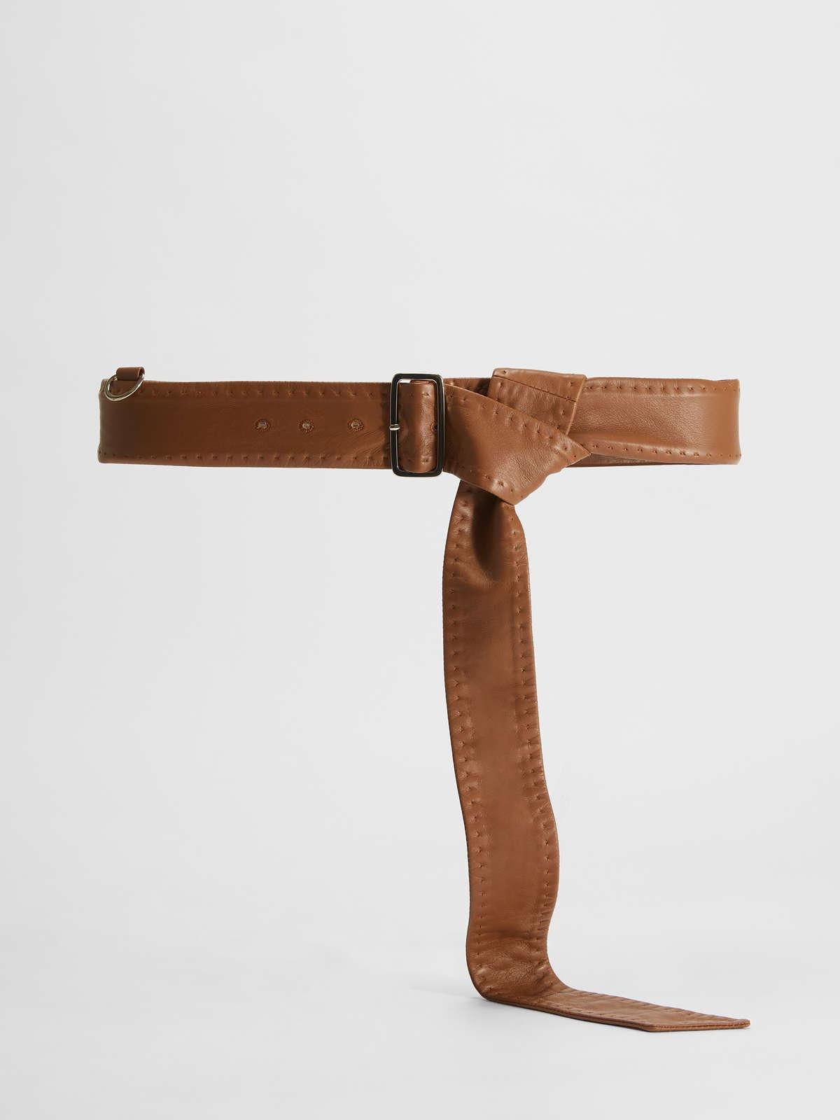 Womens Max Mara Belts | Men'S-Style Nappa Leather Belt With Buckle Caramel