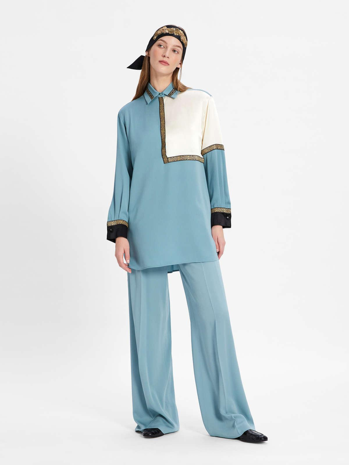 Womens Max Mara Blouses | Men'S-Style Oversized Shirt In Pure Silk Charmeuse Green