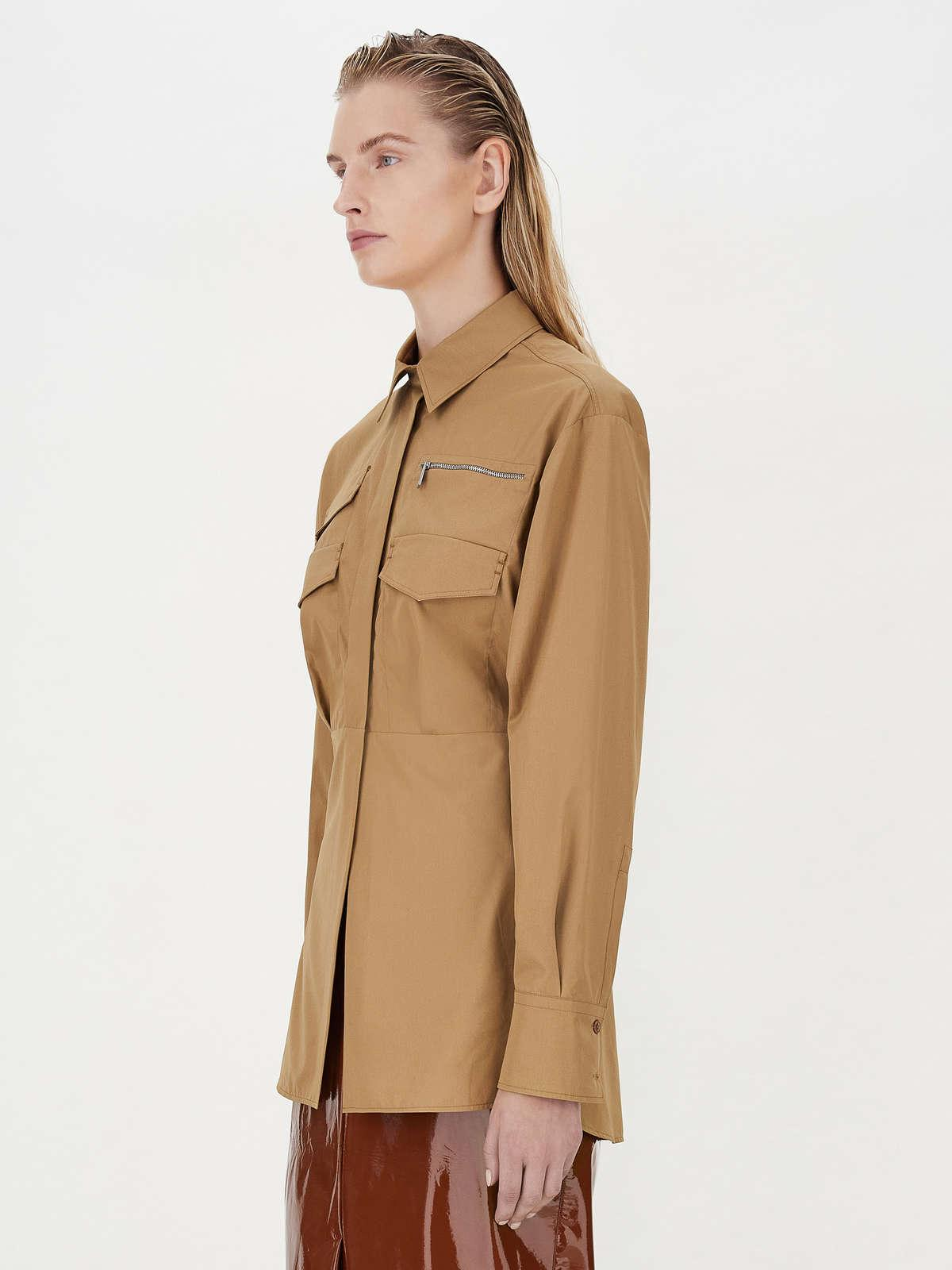 Womens Max Mara Blouses | Shirt With Patch Pockets Hazelnut Brown