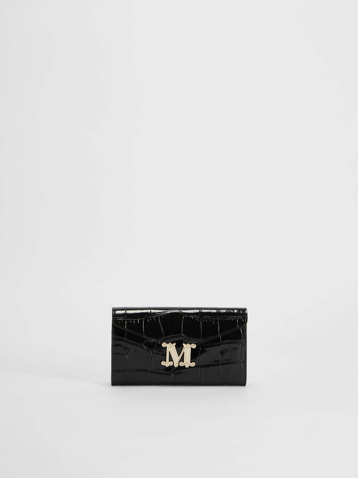 Womens Max Mara Cover And Coin Purse | Crocodile-Print Leather Wallet Black