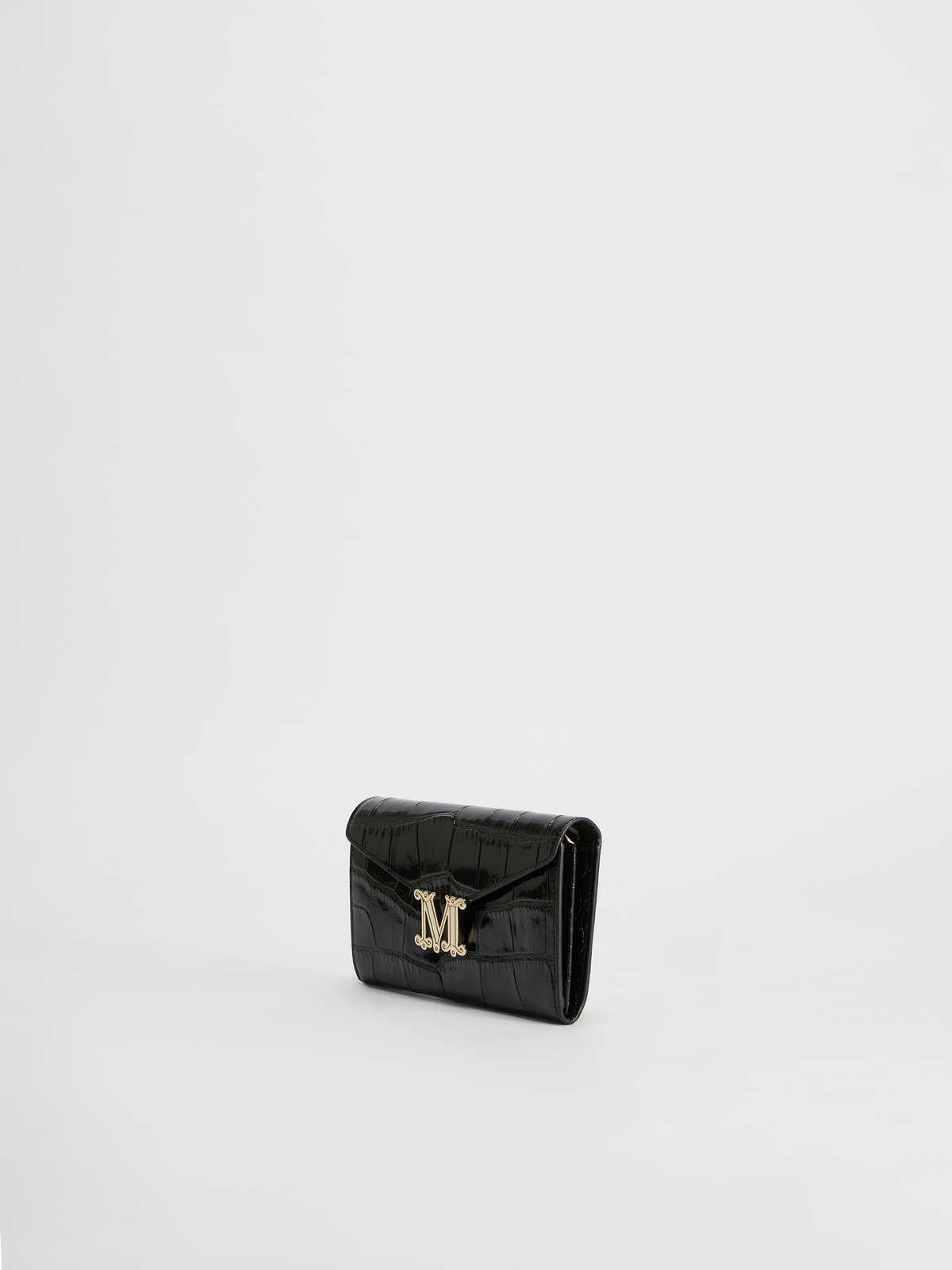 Womens Max Mara Cover And Coin Purse   Crocodile-Print Leather Wallet Black