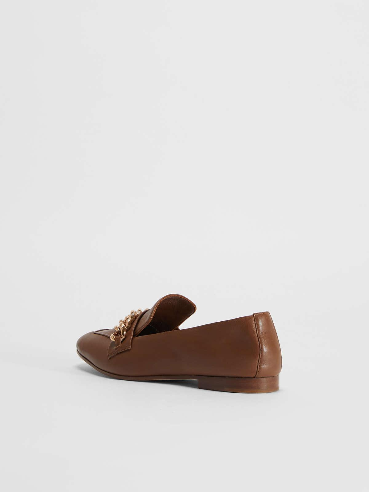 Womens Max Mara Flat Shoes   Nappa Leather Loafers Tobacco
