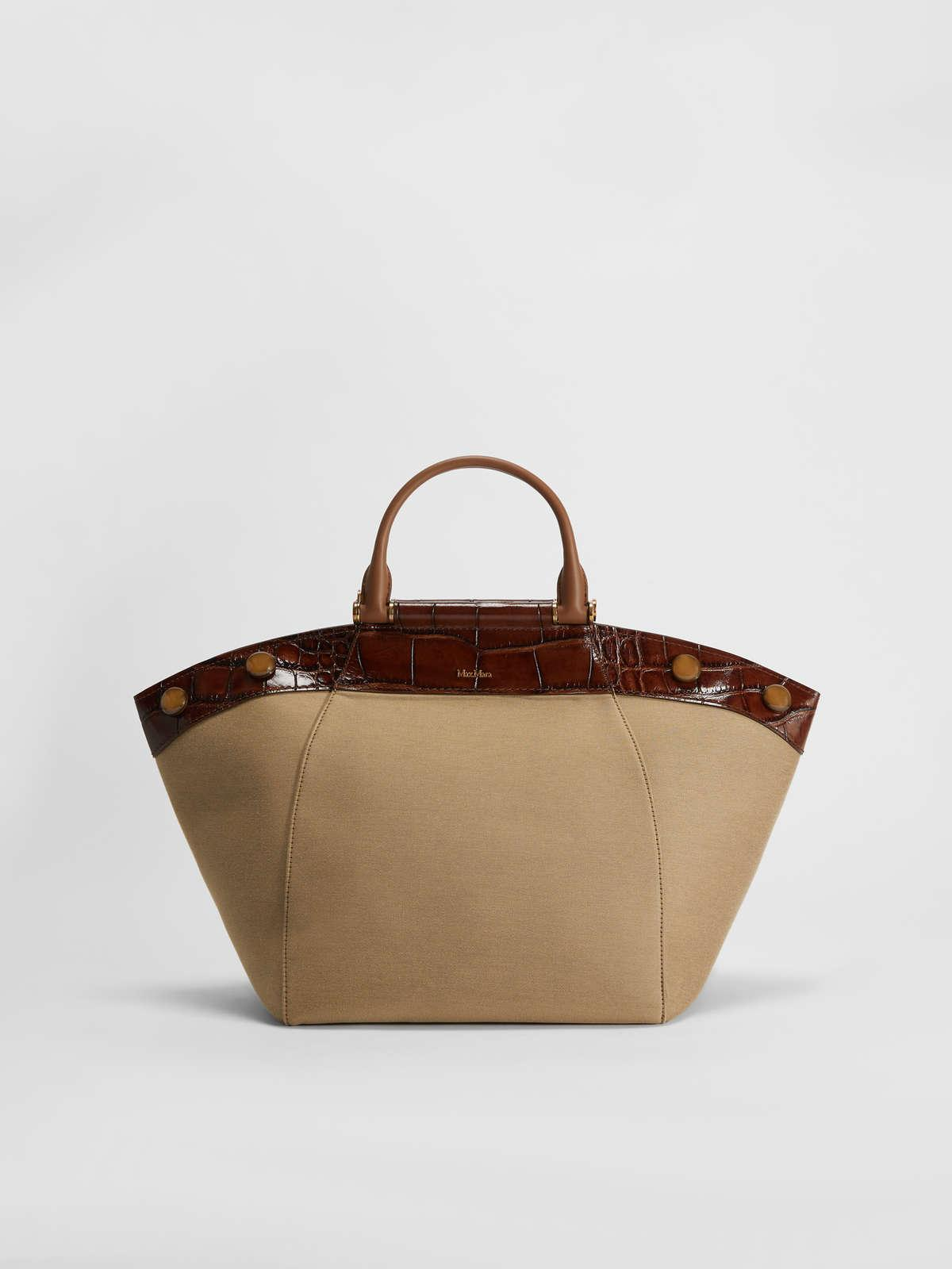 Womens Max Mara Handbags | Tote Bag In Leather And Fabric Tobacco