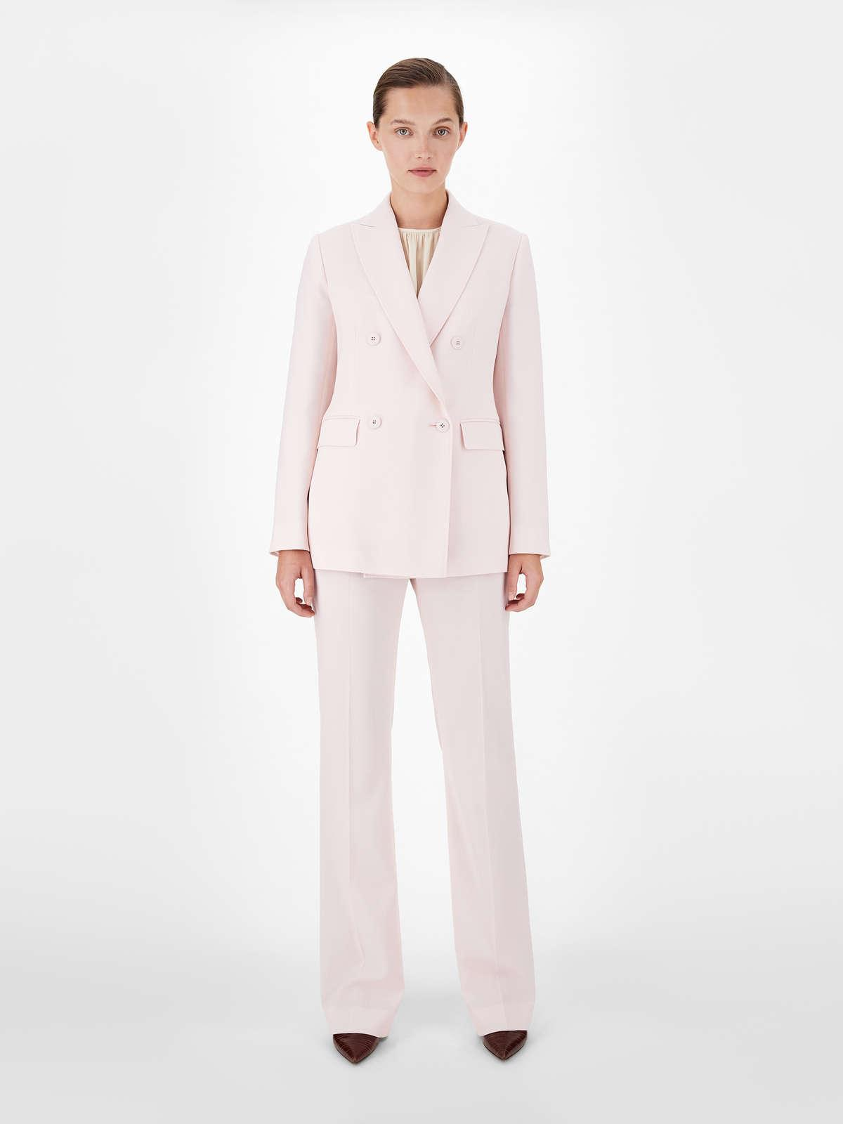 Womens Max Mara Jackets And Blazers | Double-Breasted Satin Crepe Jacket Pink