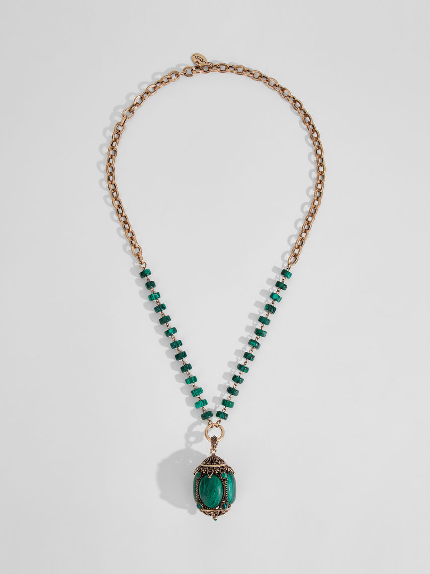 Womens Max Mara Jewelry | Chain Necklace With Large Pendant Green