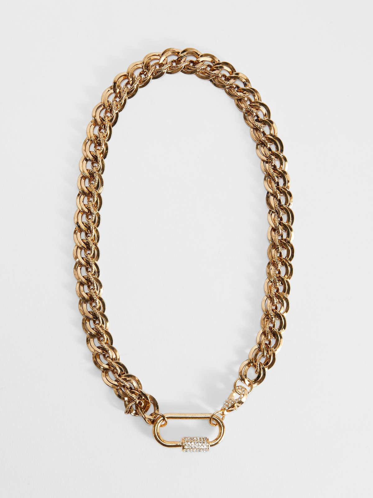 Womens Max Mara Jewelry   Chain Necklace With Snap-Hook Clasp Gold