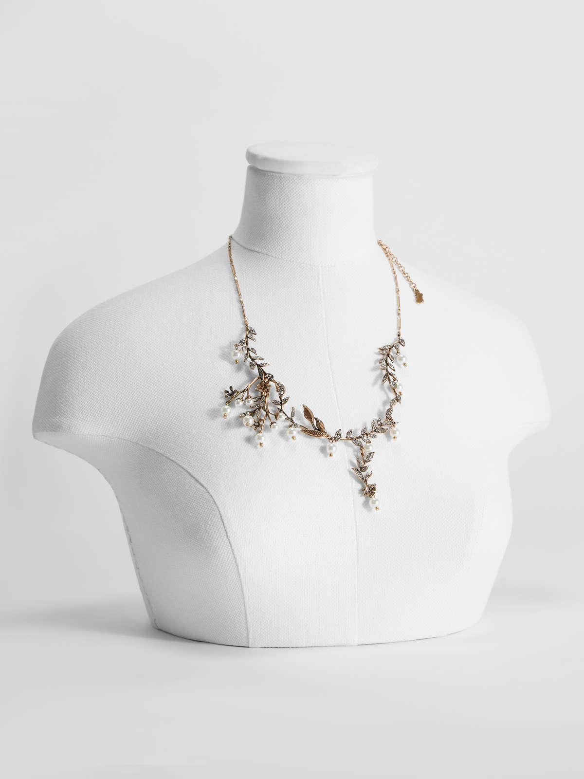 Womens Max Mara Jewelry | Flower Necklace With Pearl Details Gold