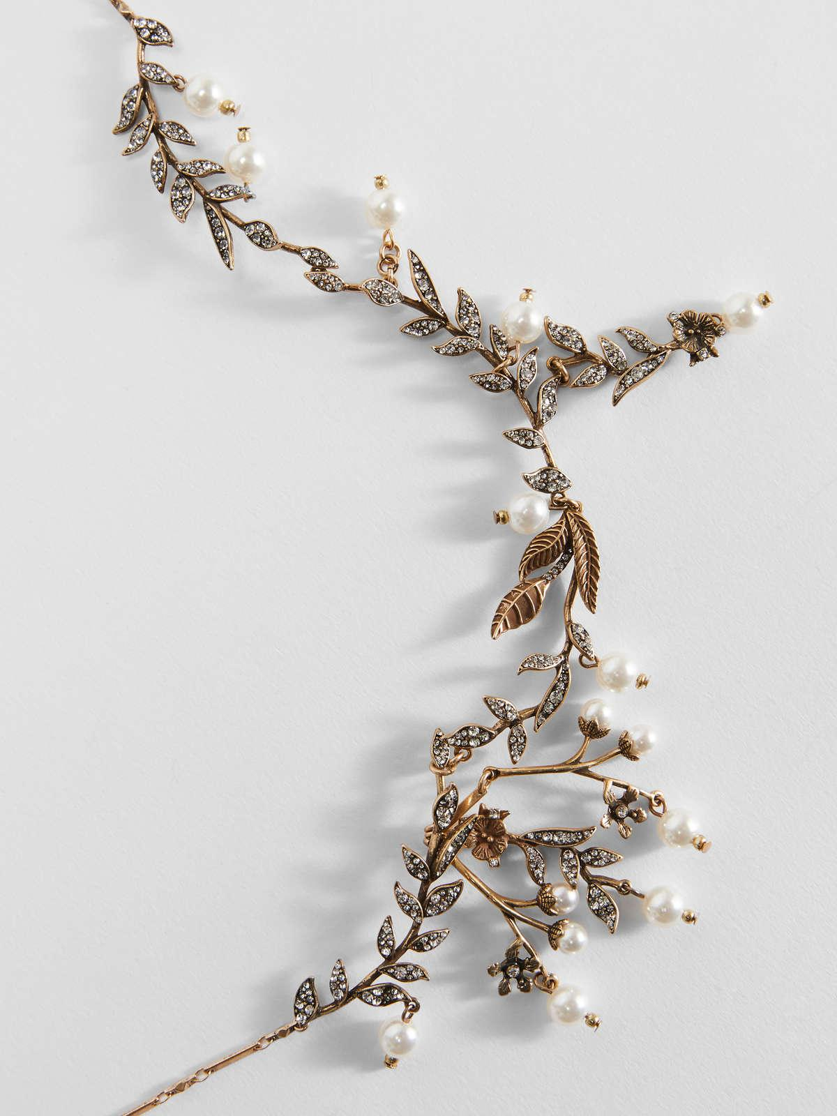 Womens Max Mara Jewelry   Flower Necklace With Pearl Details Gold