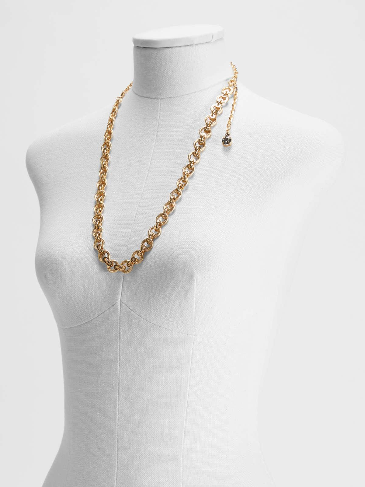 Womens Max Mara Jewelry   Glass And Metallic Necklace Gold