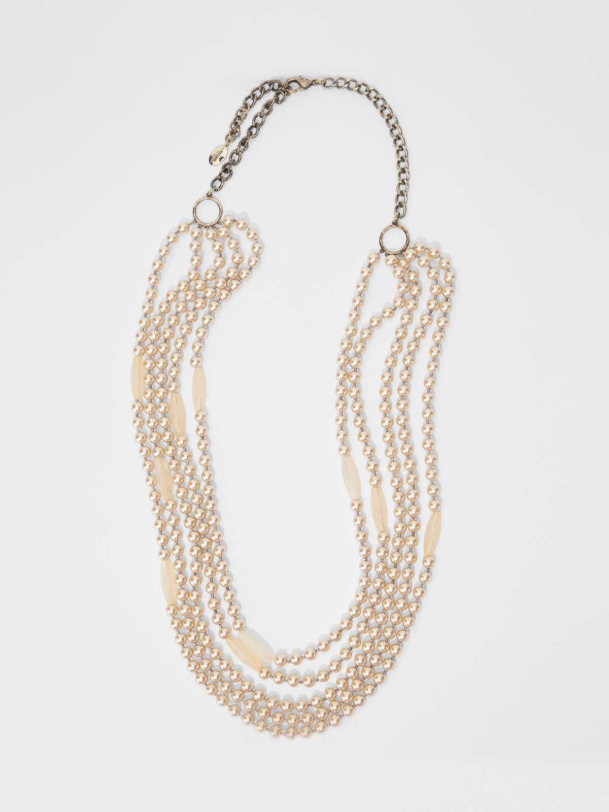 Womens Max Mara Jewelry   Multi-Strand Necklace With Bead Details Beige