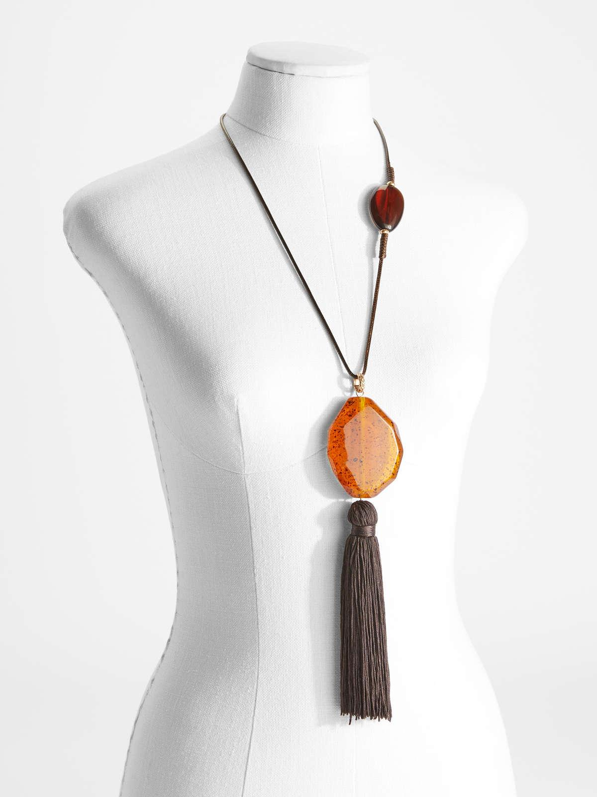 Womens Max Mara Jewelry   Necklace With Maxi Tassel Pendant Amber