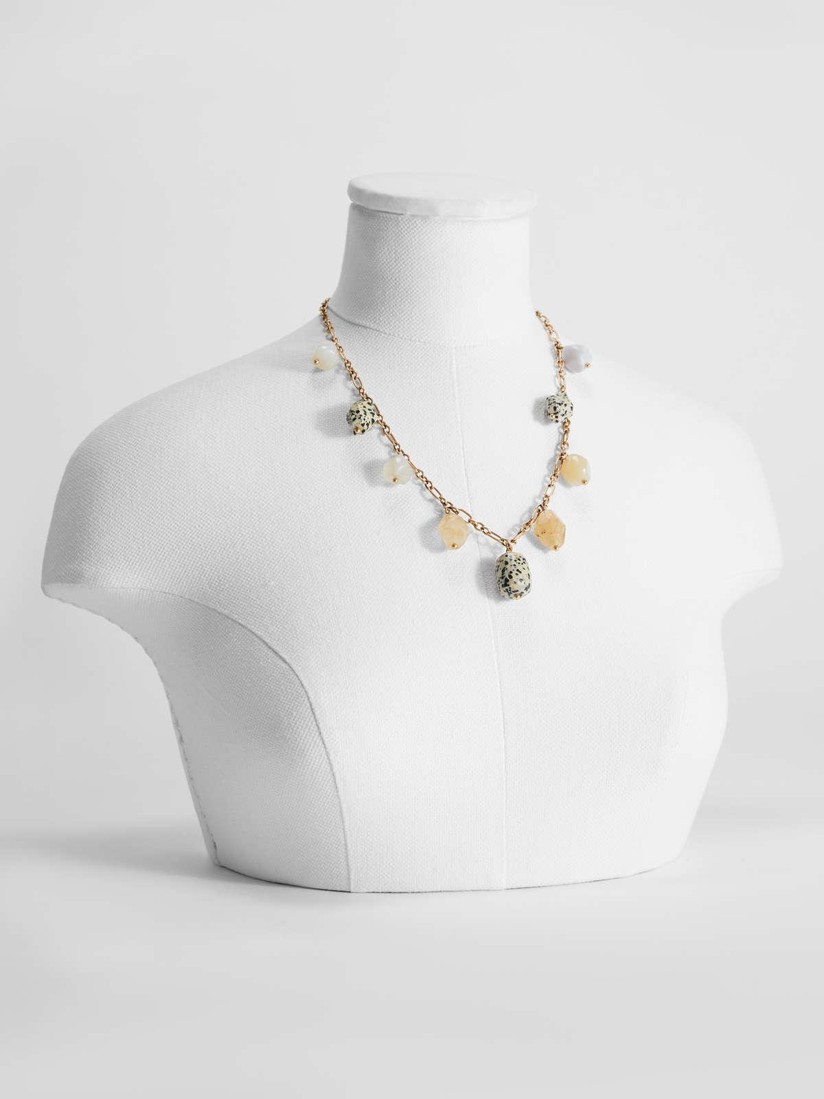 Womens Max Mara Jewelry | Necklace With Stone Charms Camel