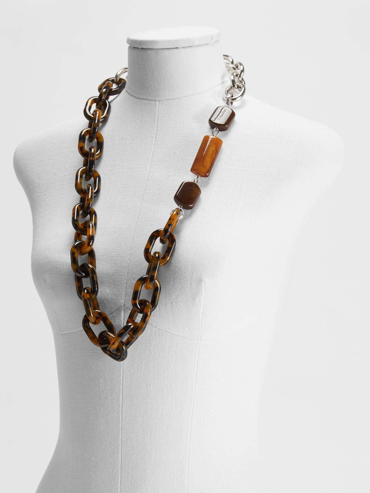 Womens Max Mara Jewelry | Resin And Metallic Necklace Brown