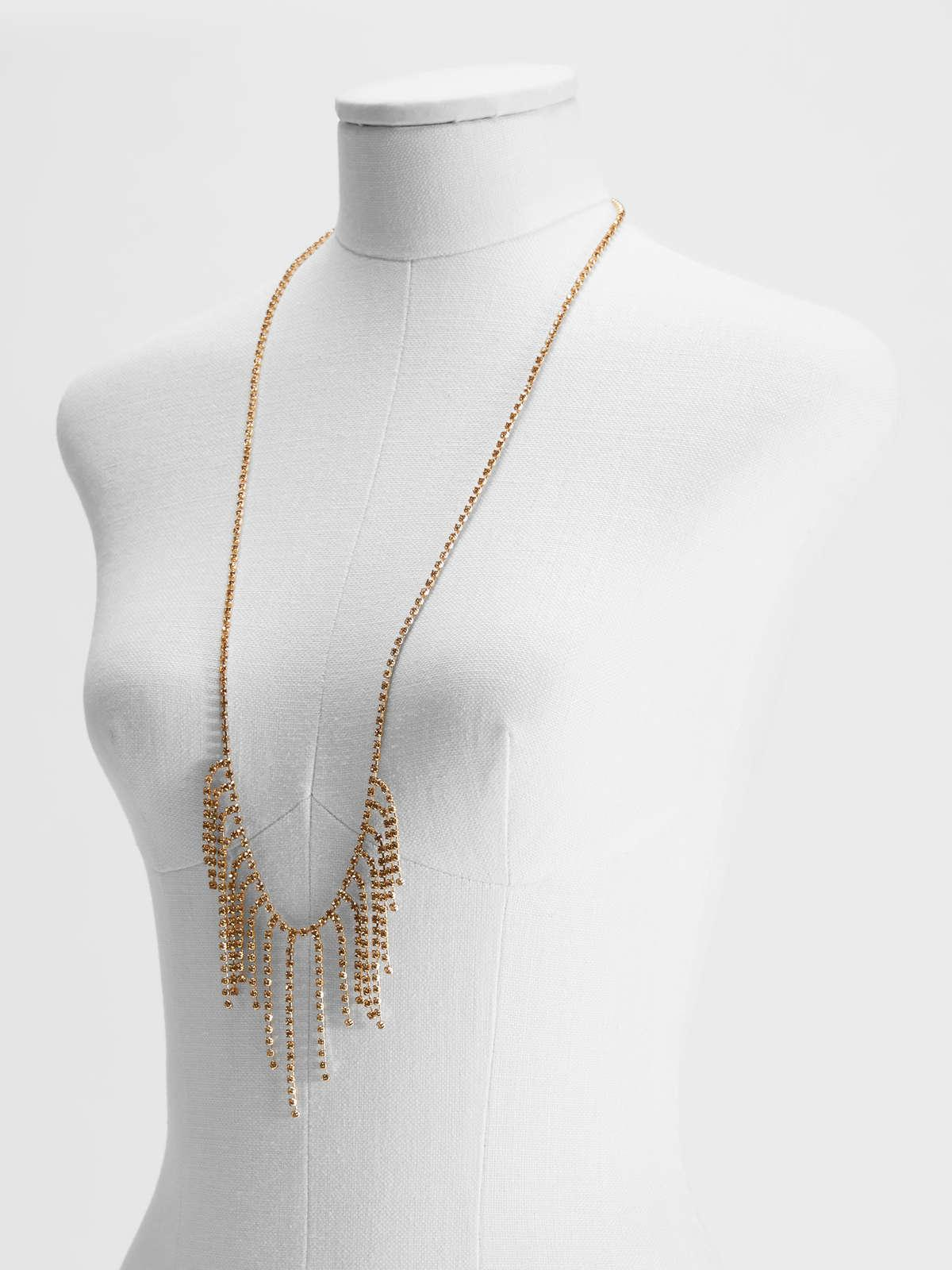 Womens Max Mara Jewelry | Rhinestone And Metal Long Necklace Gold