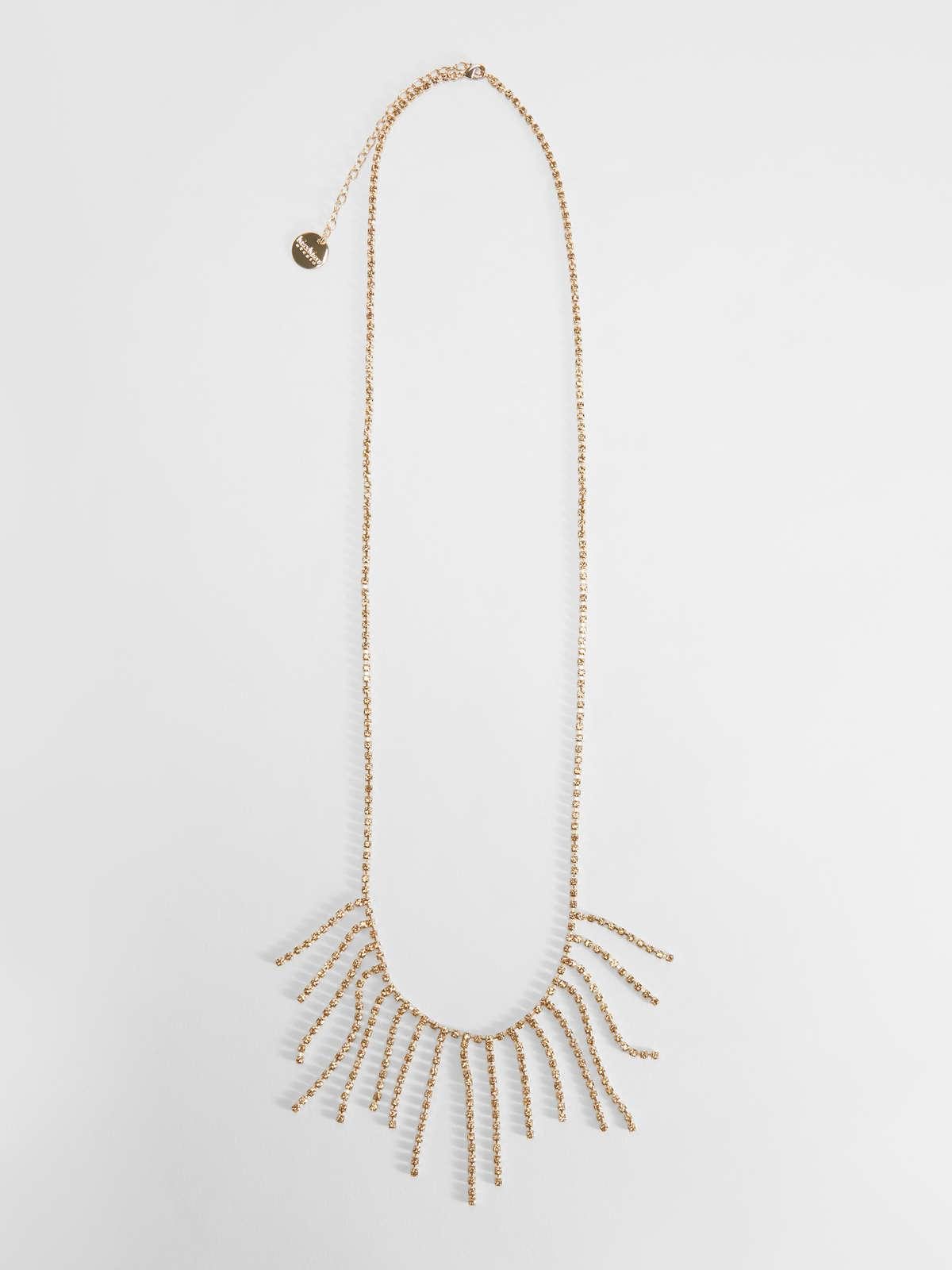 Womens Max Mara Jewelry   Rhinestone And Metal Long Necklace Gold