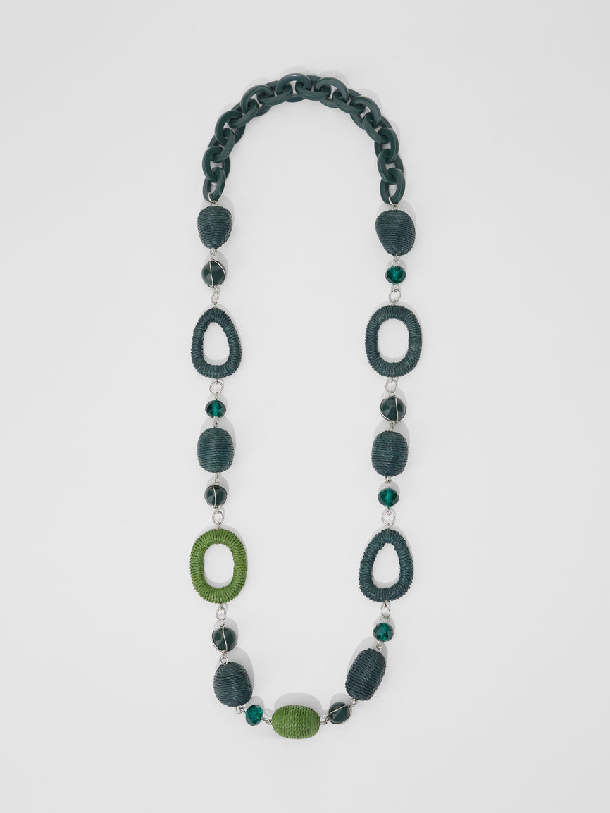 Womens Max Mara Jewelry | Rope And Straw Necklace Green