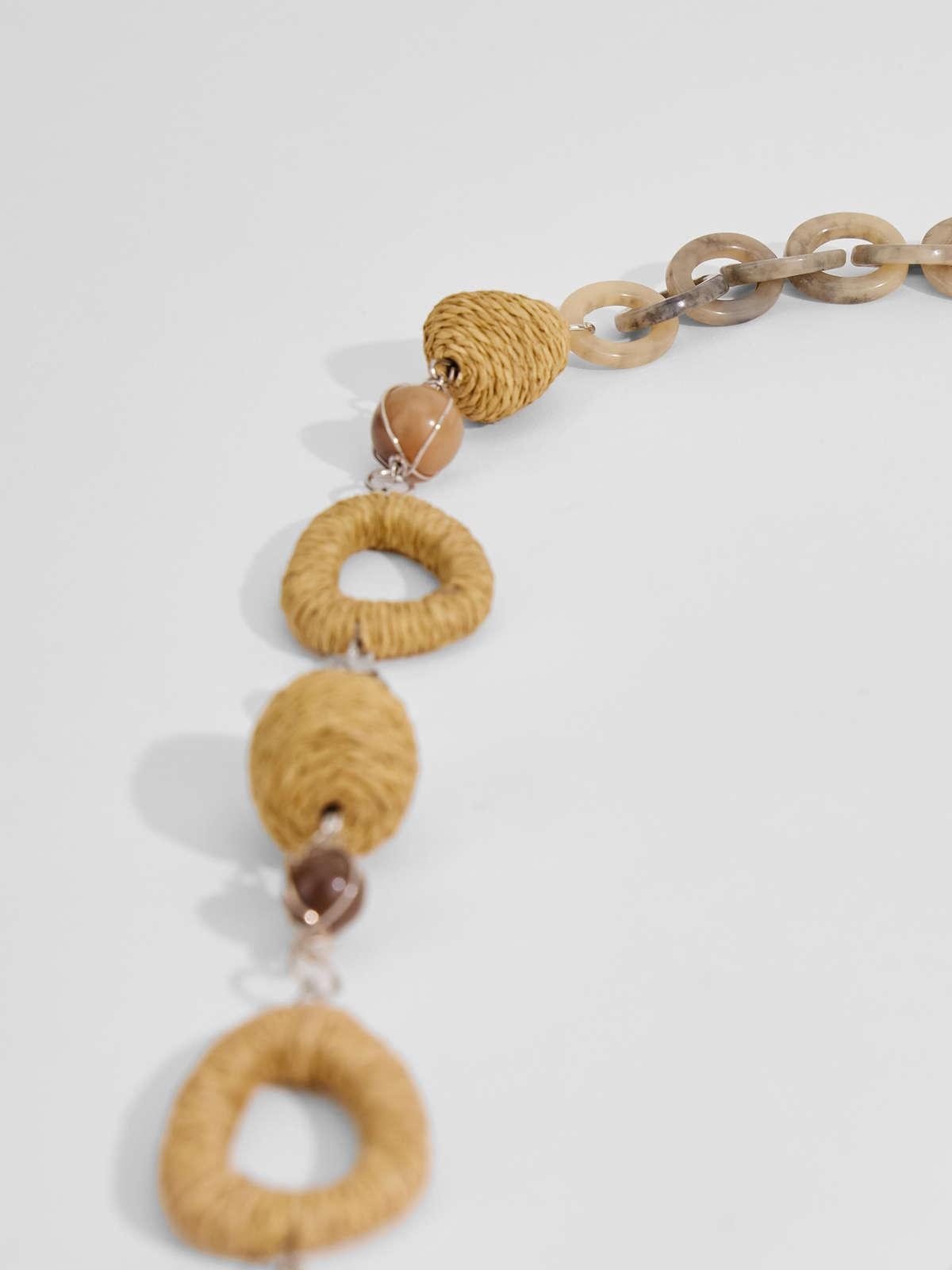 Womens Max Mara Jewelry   Rope And Straw Necklace Natural