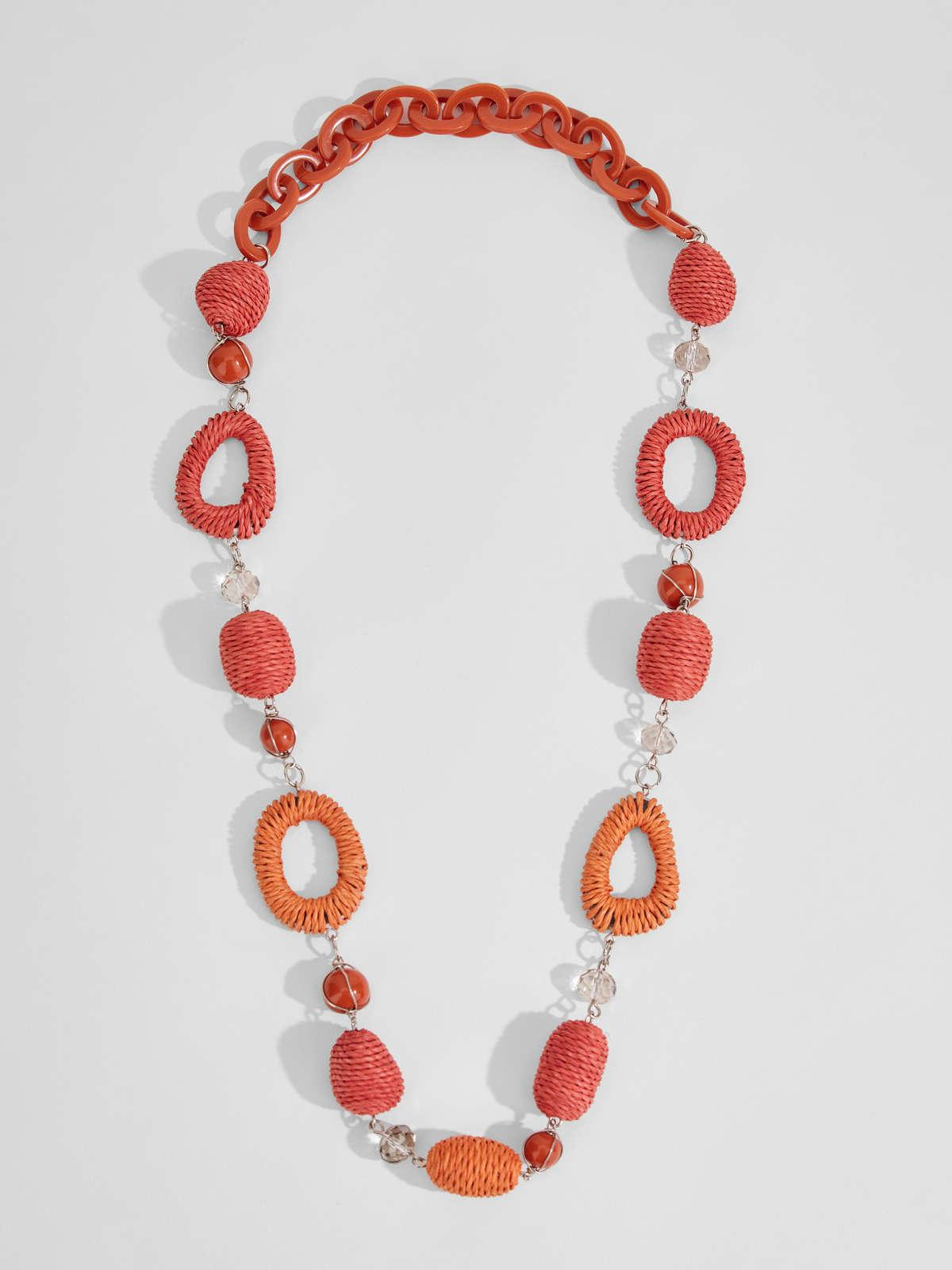 Womens Max Mara Jewelry | Rope And Straw Necklace Red
