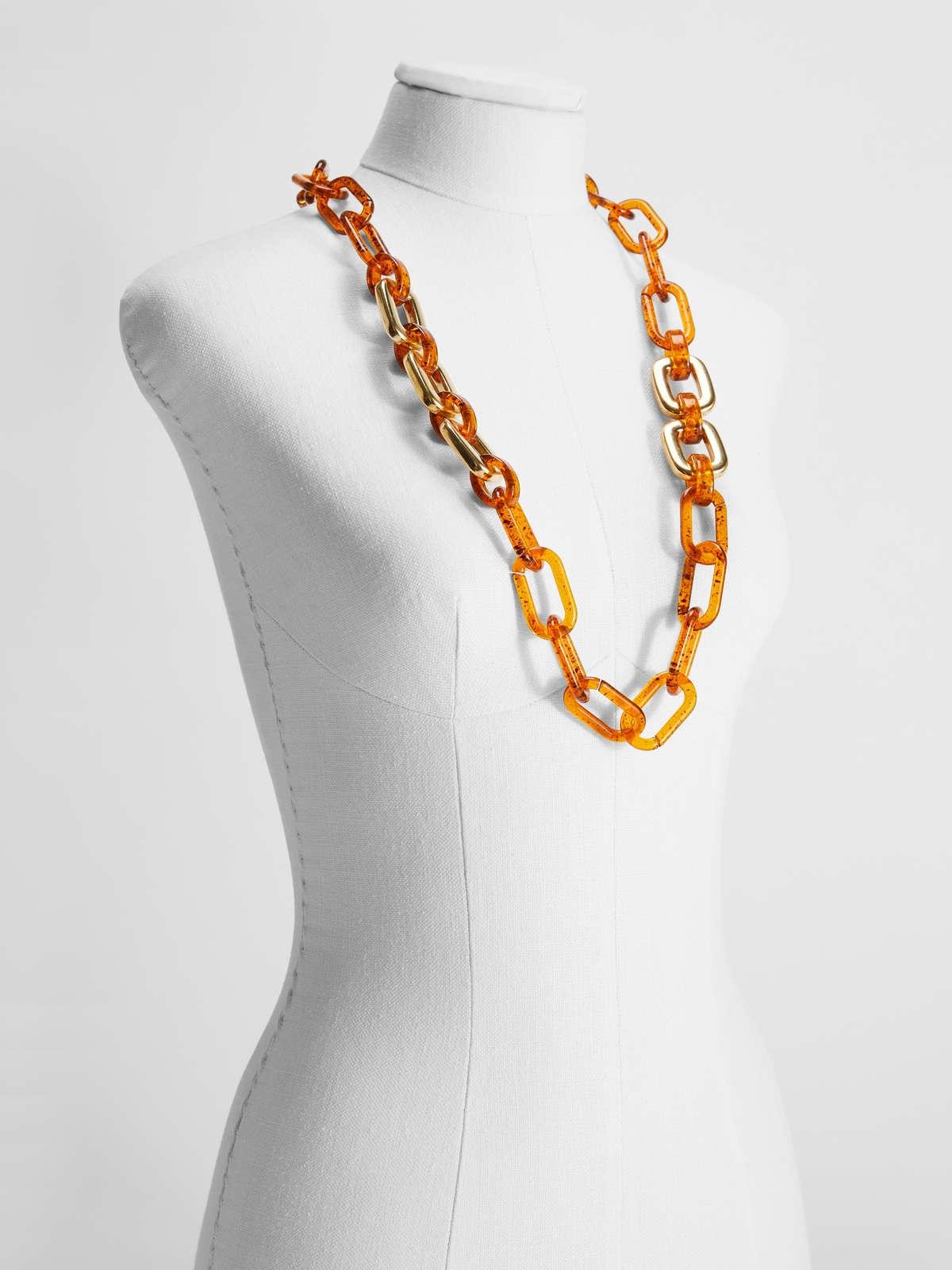 Womens Max Mara Jewelry   Two-Tone Resin Chain Necklace Amber