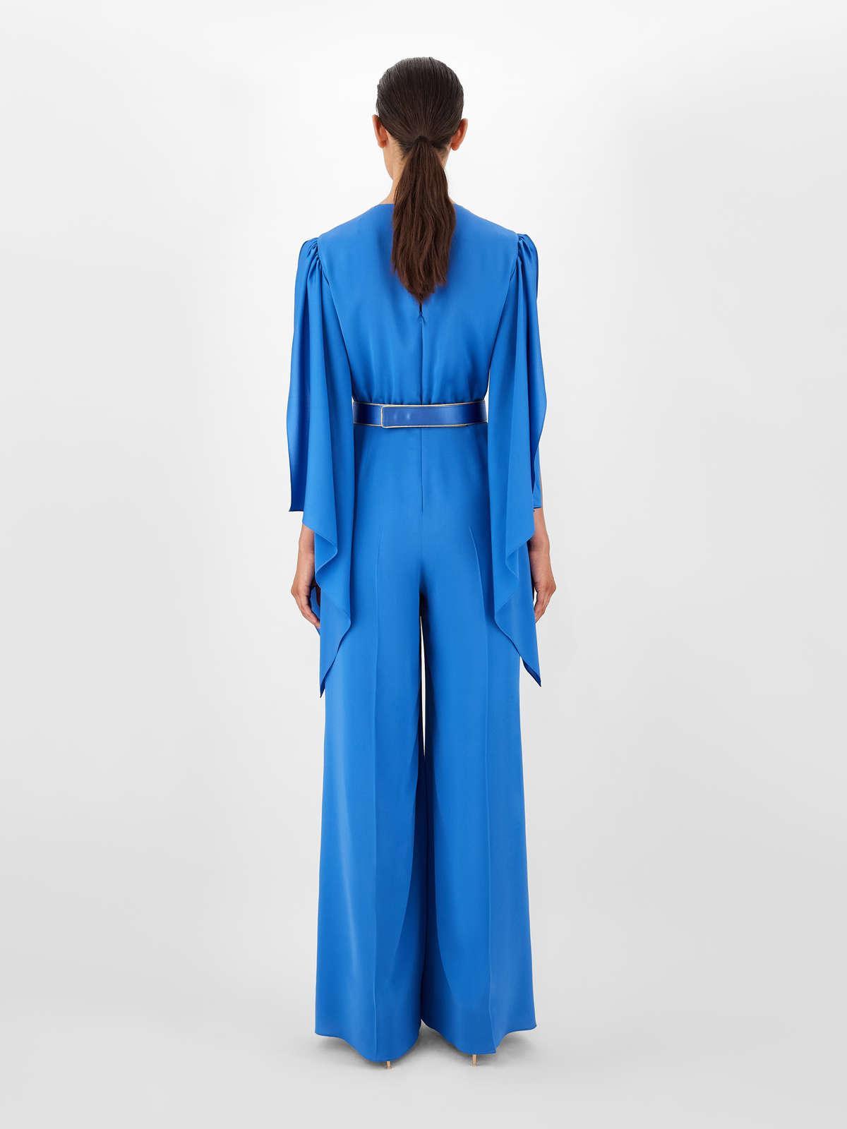 Womens Max Mara Jumpsuits | Silk Charmeuse Jumpsuit Cornflower Blue