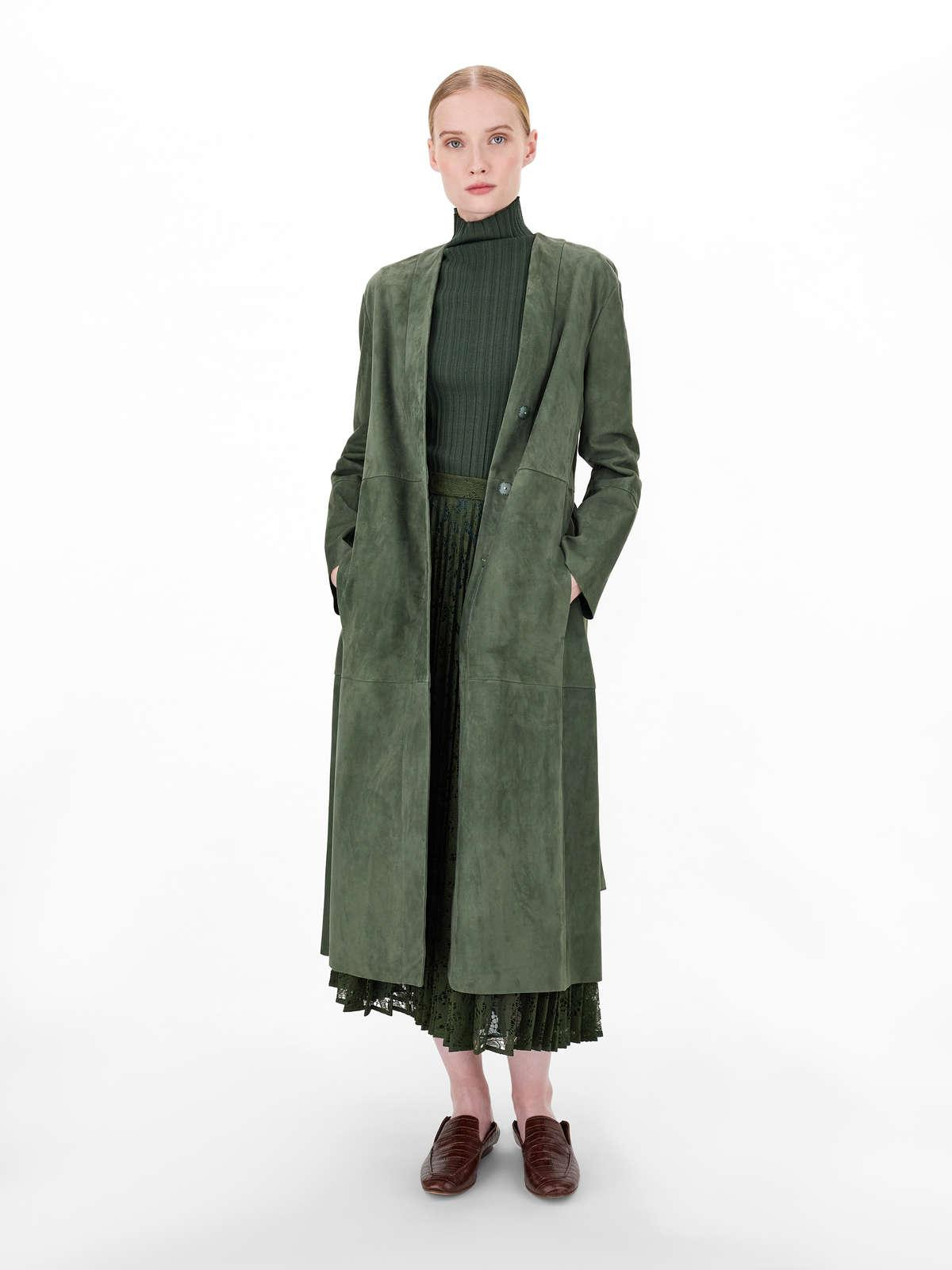 Womens Max Mara Leather And Fur Coats | Suede Duster Dark Green