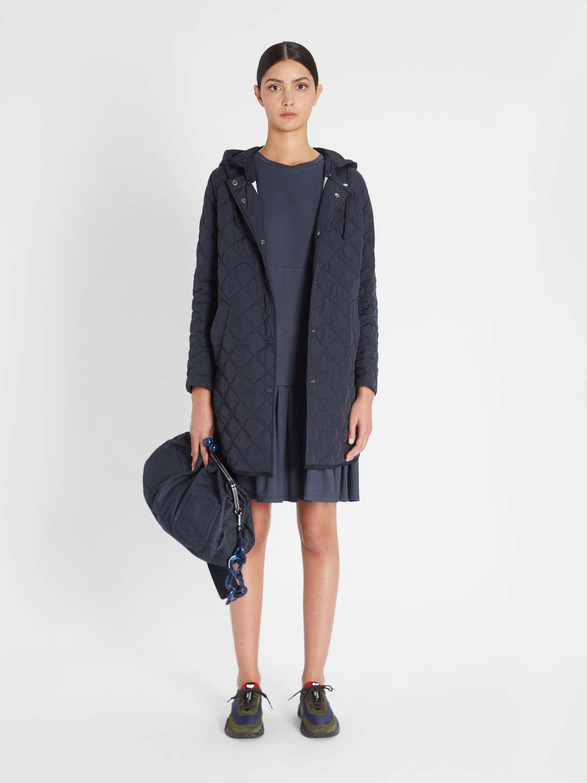 Womens Max Mara Padded Coats | Water-Repellent Technical Fabric Down Jacket Navy