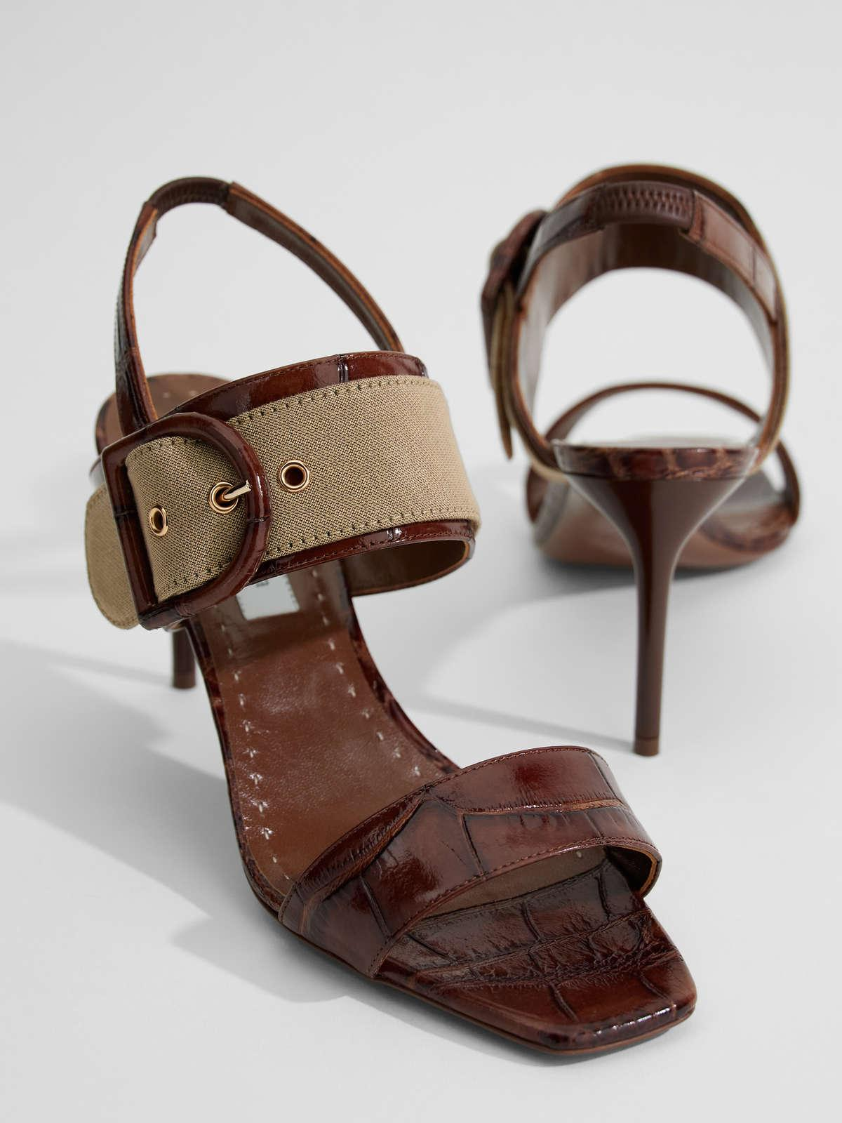Womens Max Mara Sandals   Leather And Fabric Sandals Tobacco