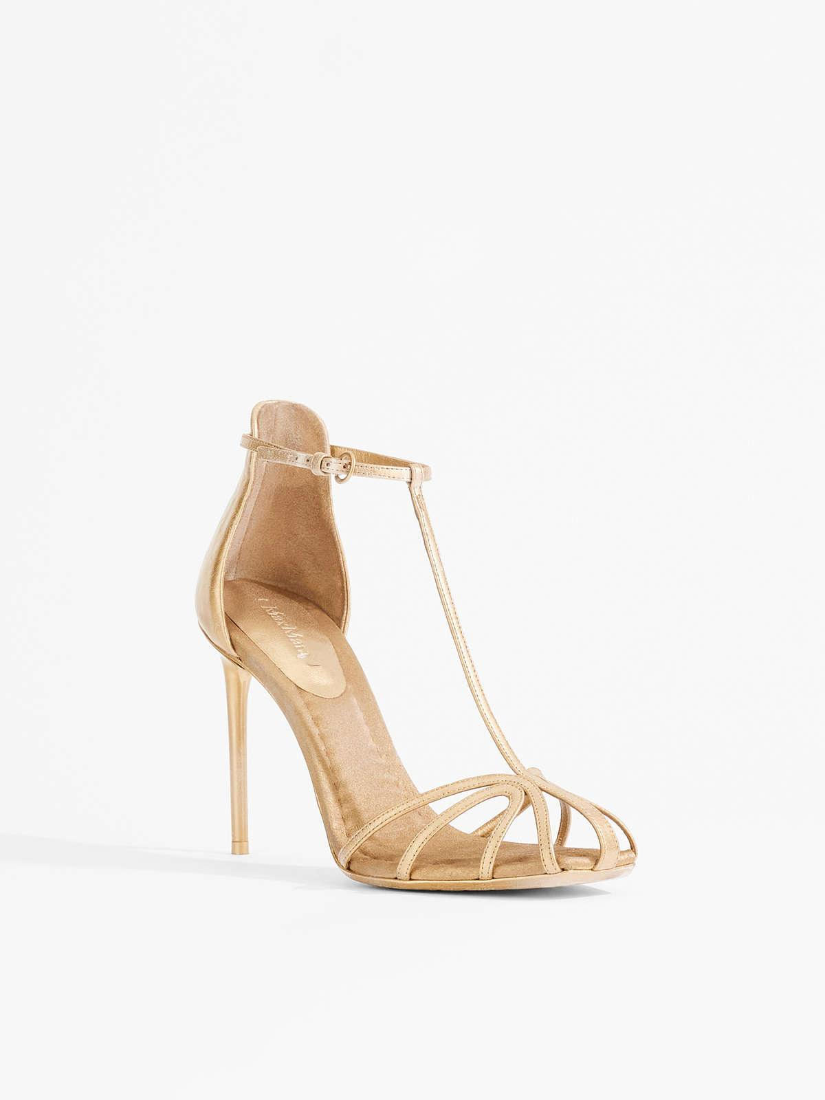 Womens Max Mara Sandals | Nappa Leather And Satin Sandals Light Gold