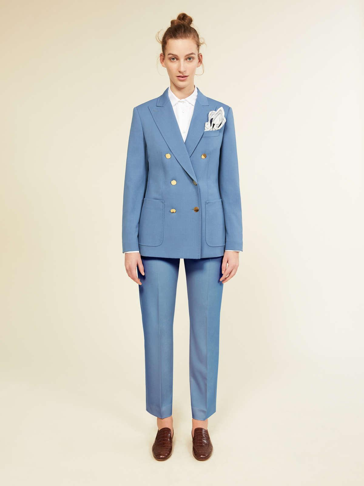 Womens Max Mara Sartorial Suit   Blazer In Wool And Mohair Faille Light Blue