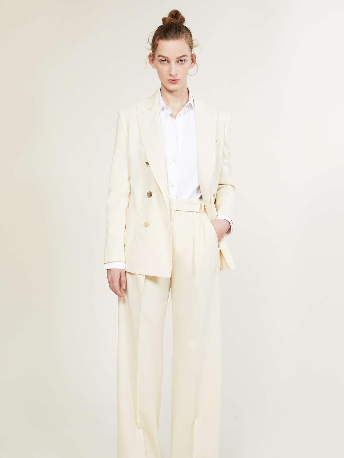 Womens Max Mara Sartorial Suit | Trousers In Wool And Mohair Faille Ivory