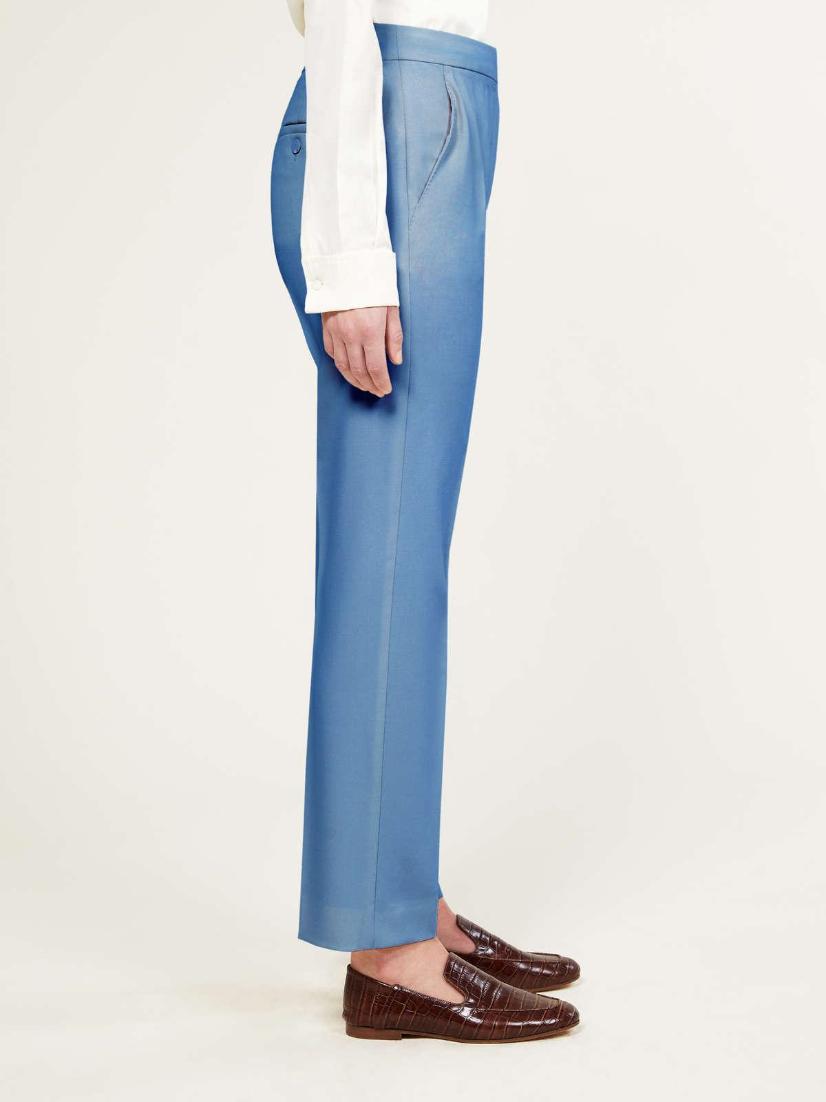 Womens Max Mara Sartorial Suit | Trousers In Wool And Mohair Faille Light Blue