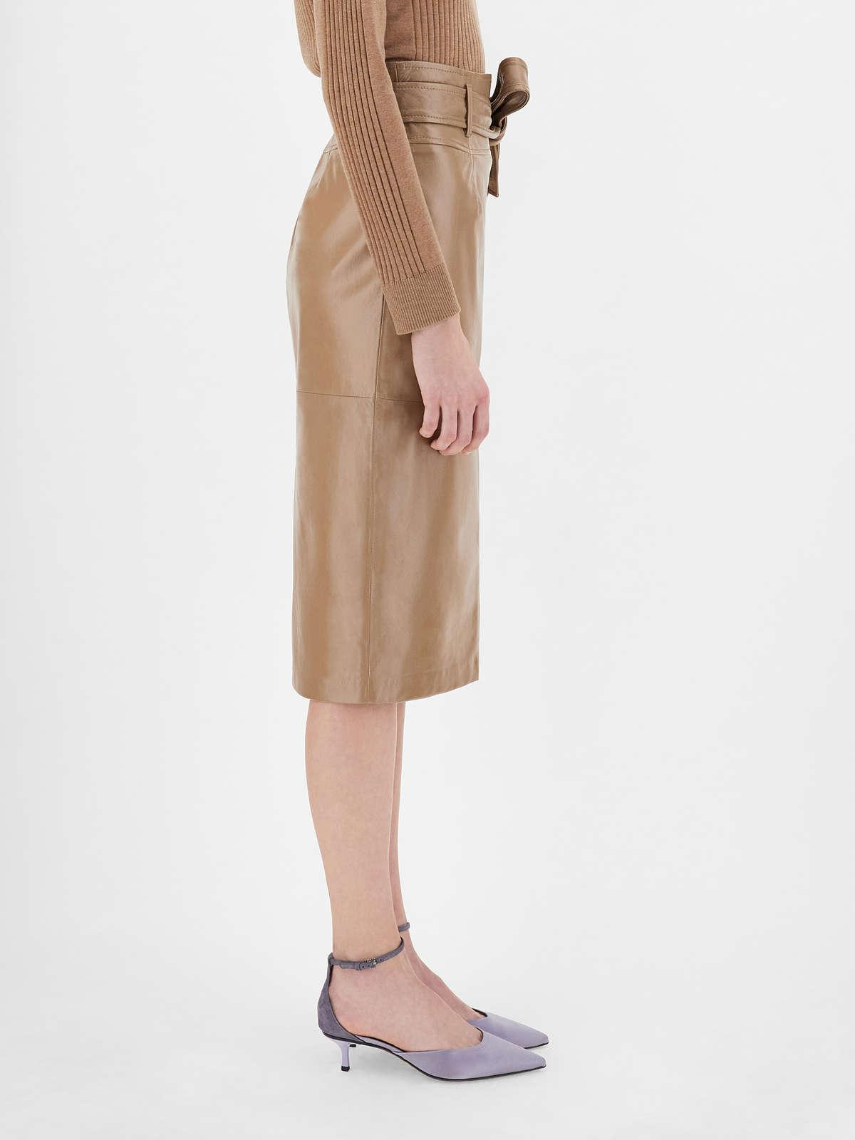 Womens Max Mara Skirts | Lux Nappa Leather Skirt Camel