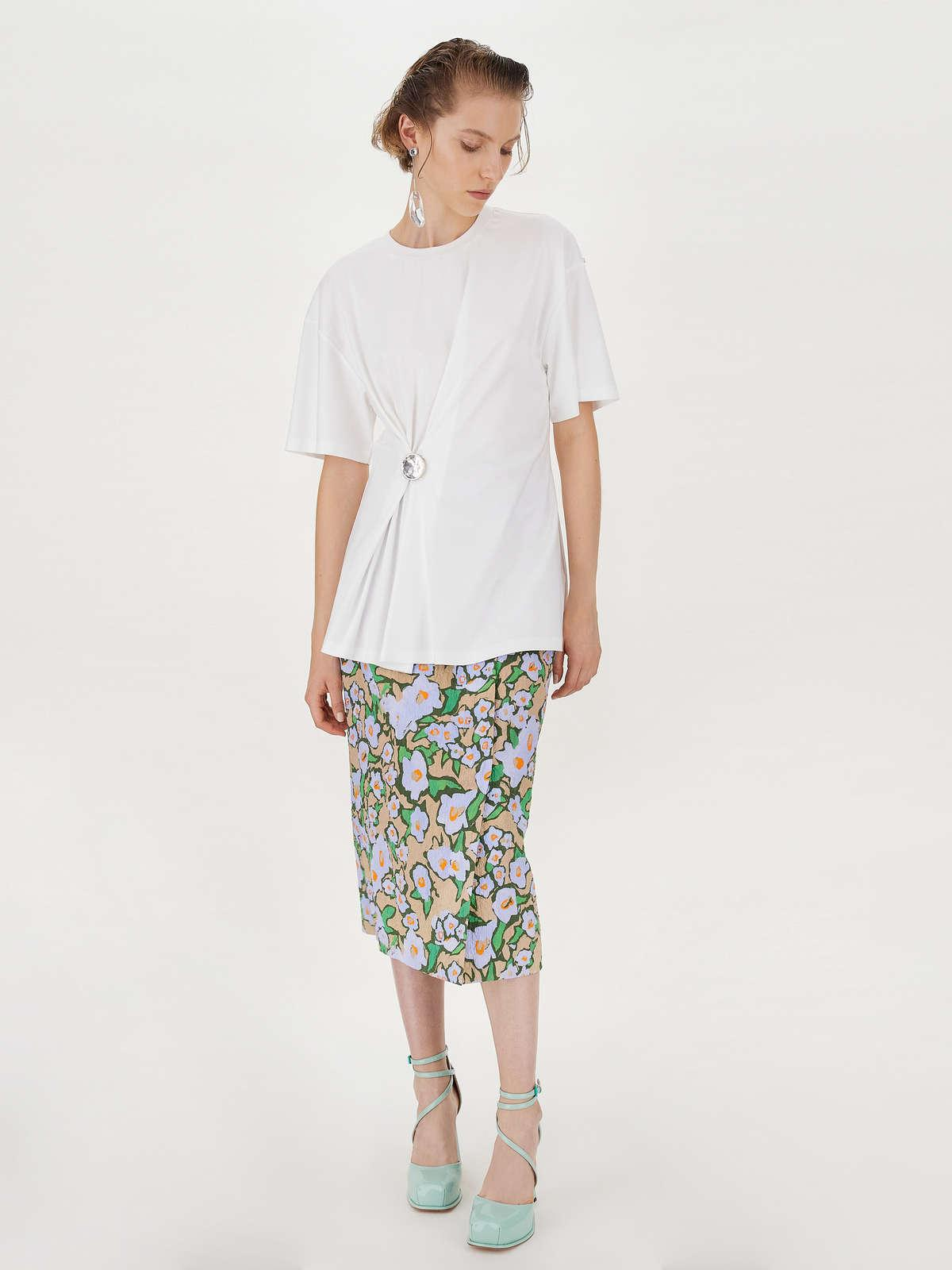 Womens Max Mara Tops And T-Shirts | Bejewelled-Button T-Shirt Optical White