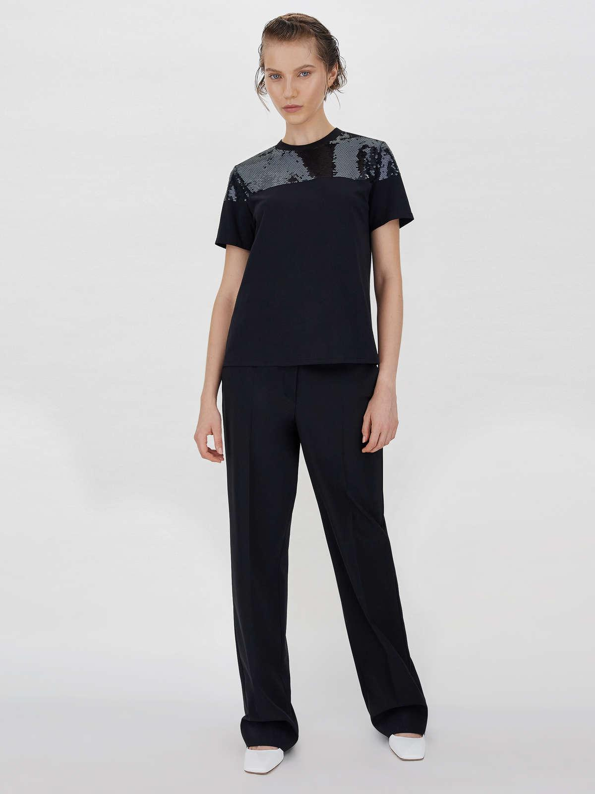 Womens Max Mara Tops And T-Shirts   Embroidery And Sequin-Embellished T-Shirt Black