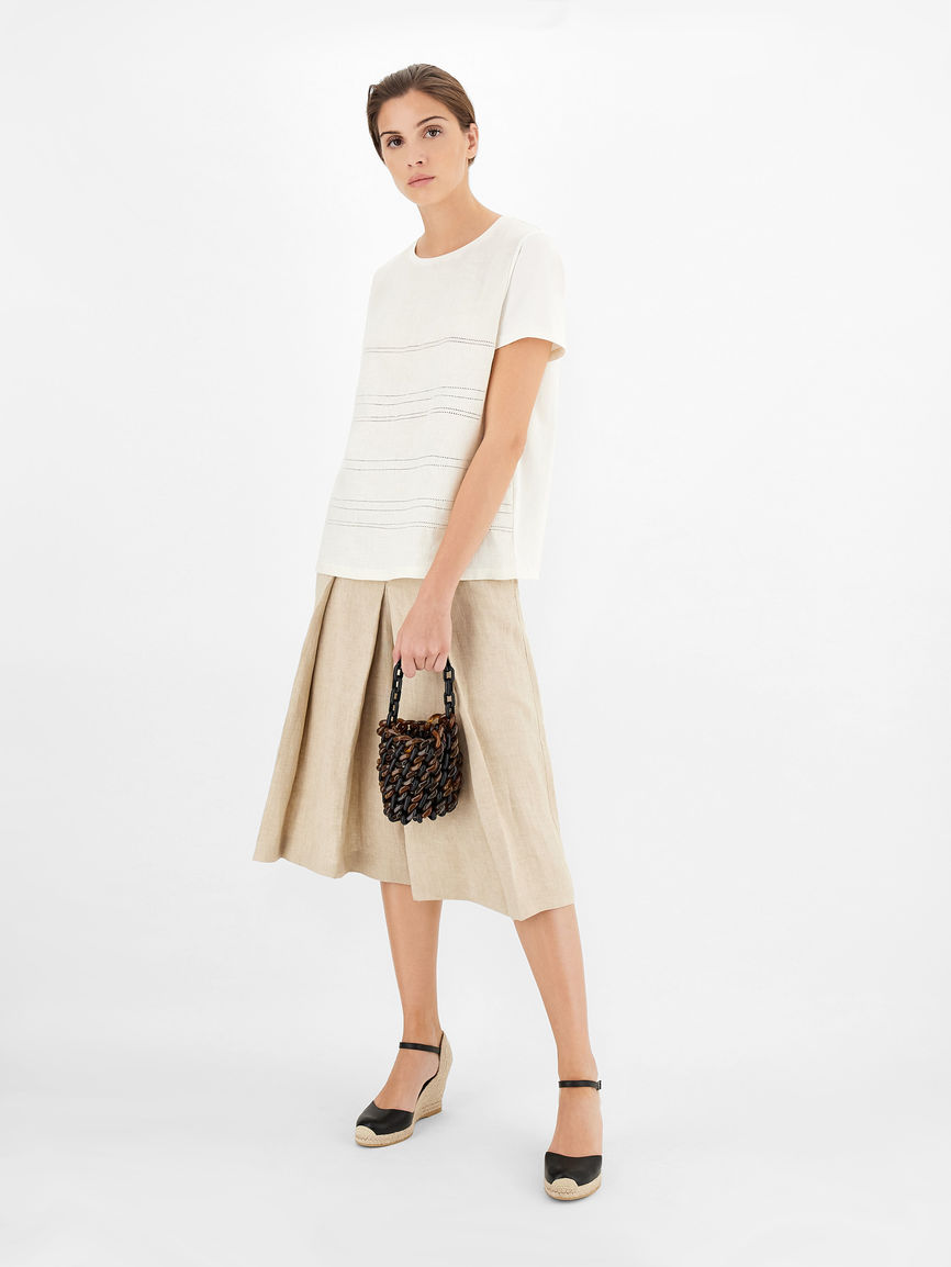 Womens Max Mara Tops And T-Shirts | Linen And Jersey T-Shirt Ivory