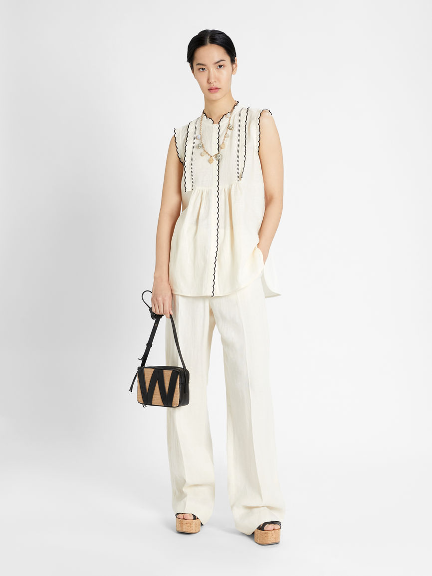 Womens Max Mara Tops And T-Shirts   Linen And Jersey Top Ivory