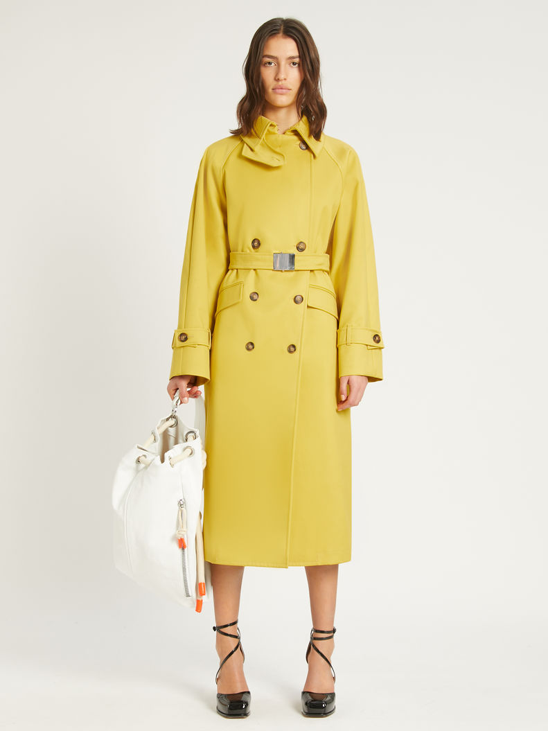 Womens Max Mara Trench   Water-Repellent Cotton Trench Coat Yellow