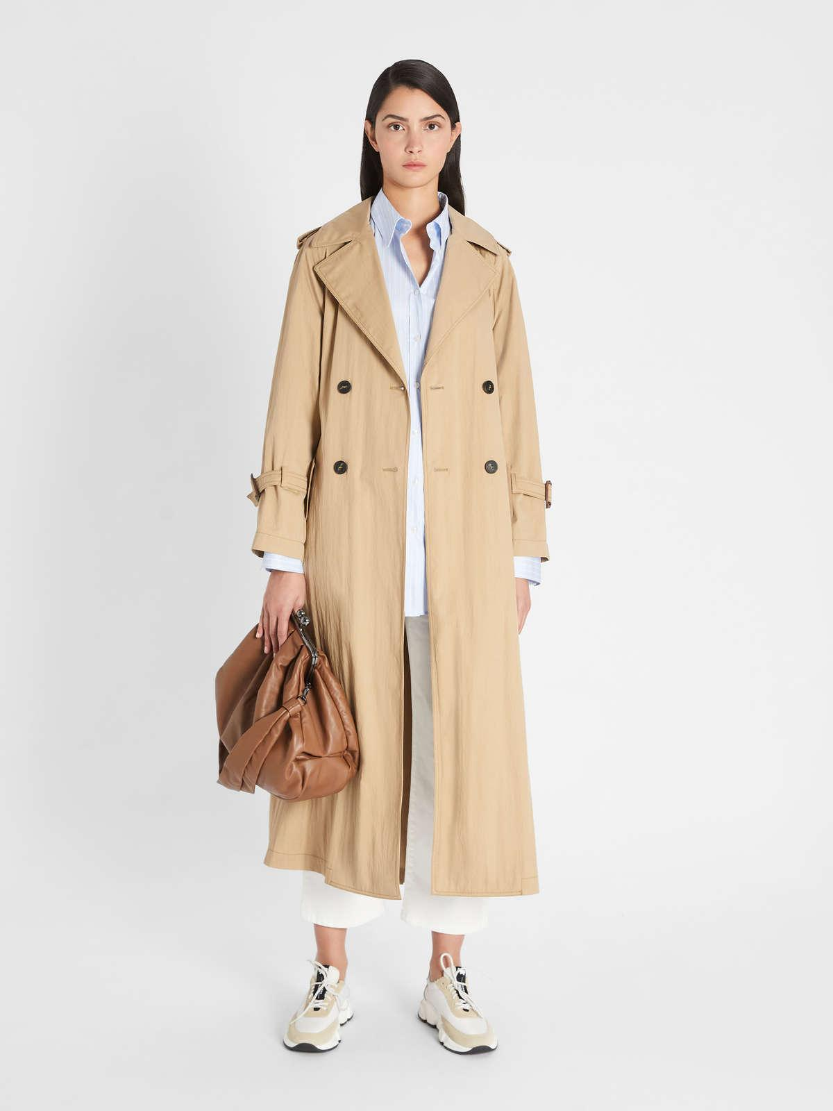 Womens Max Mara Trench | Water-Repellent Cotton Twill Trench Coat Earth