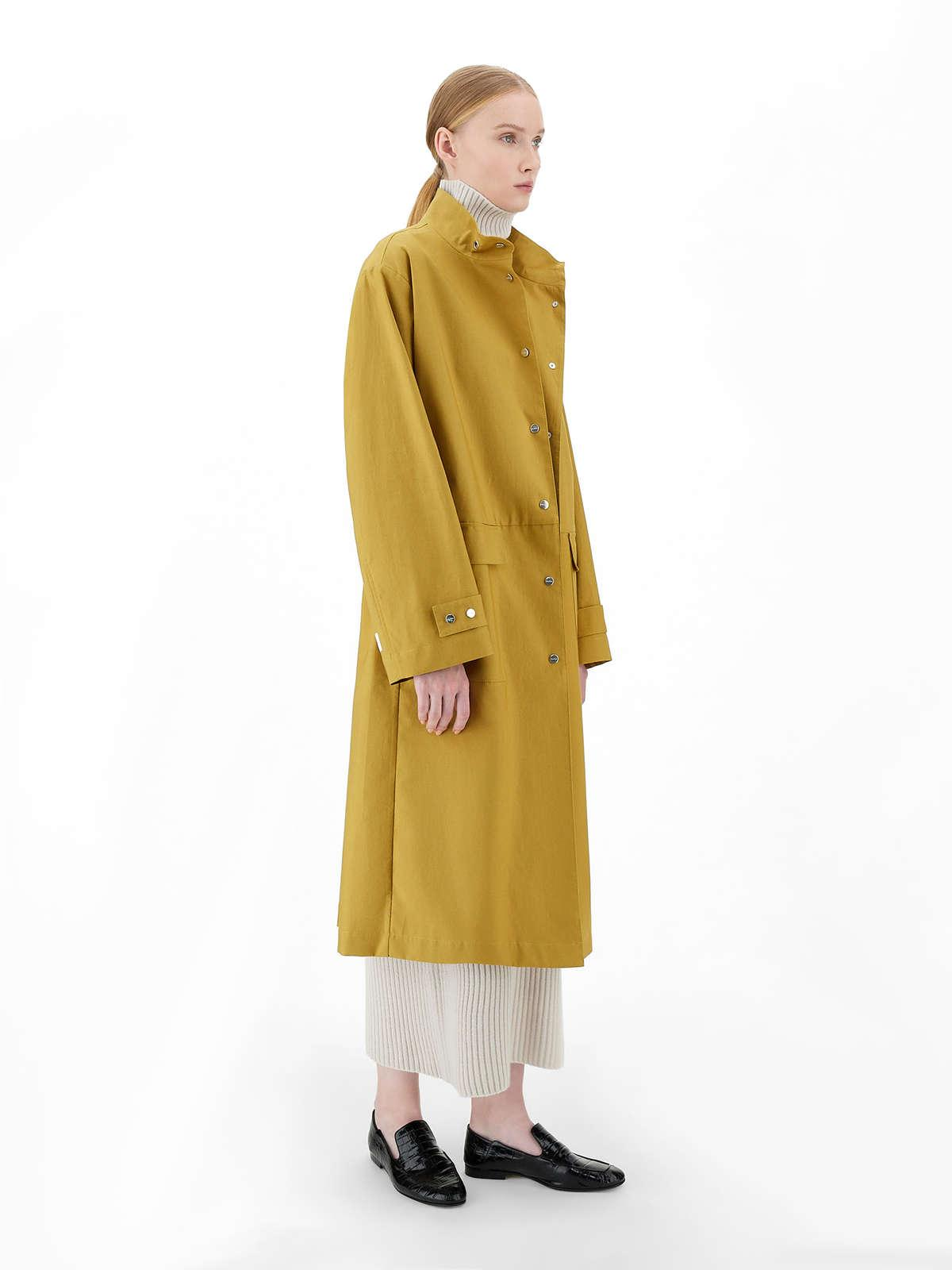 Womens Max Mara Trench | Water-Repellent Pure Cotton Parka Yellow