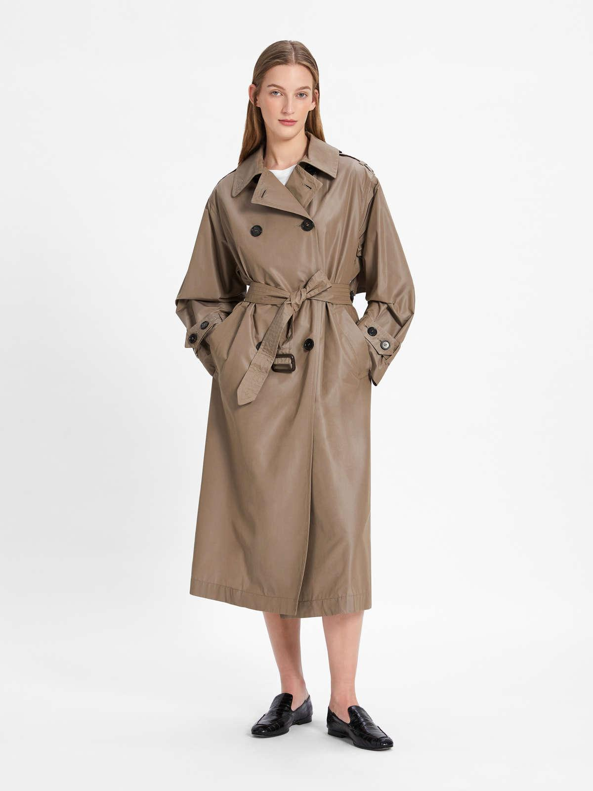 Womens Max Mara Trench | Water-Repellent Trench Coat In Technical Cotton Taffeta Fabric Sand