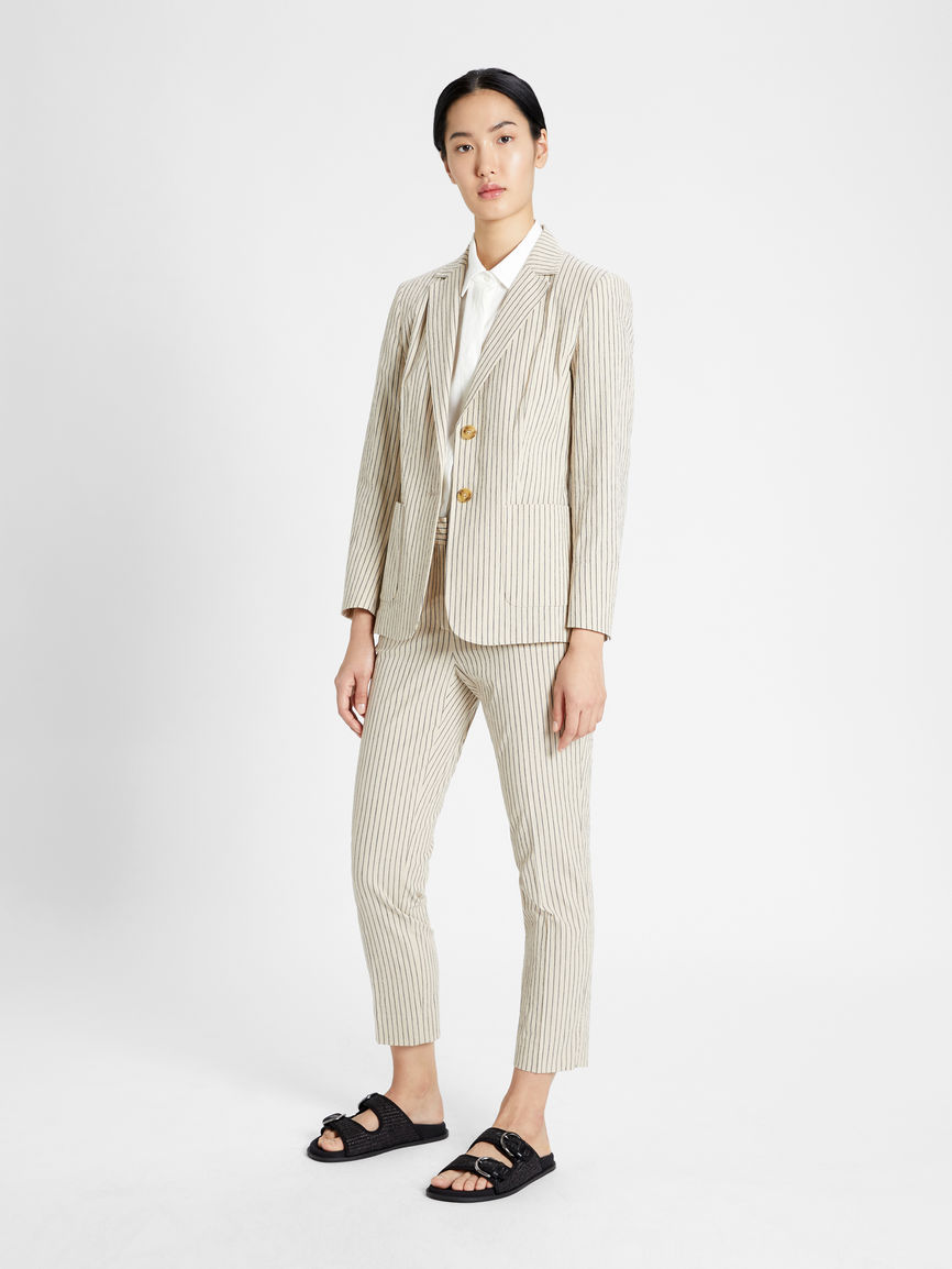 Womens Max Mara Trousers And Jeans   Cotton And Linen Trousers Beige