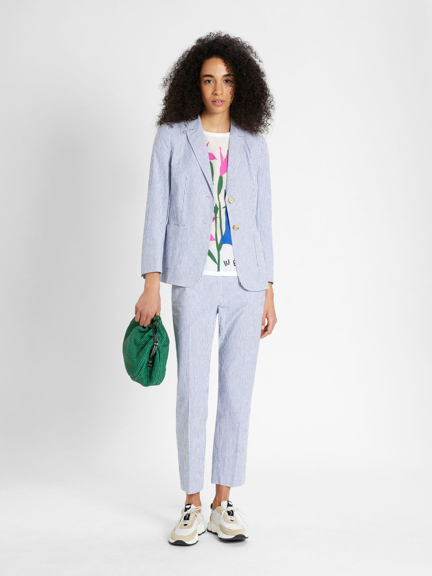 Womens Max Mara Trousers And Jeans | Cotton And Linen Trousers Light Blue