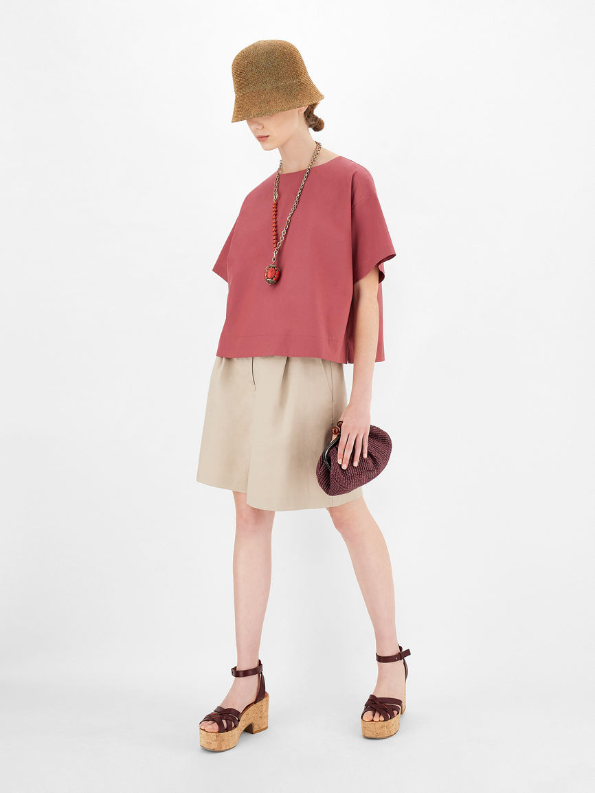 Womens Max Mara Trousers And Jeans | Cotton And Linen Twill Shorts Clay