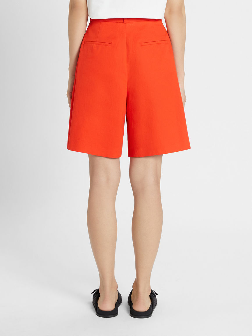 Womens Max Mara Trousers And Jeans | Cotton And Linen Twill Shorts Orange