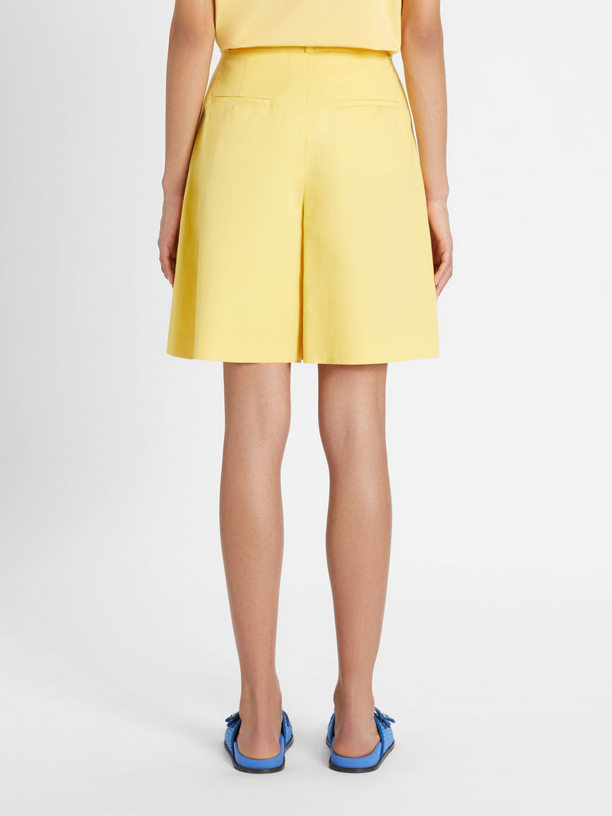 Womens Max Mara Trousers And Jeans | Cotton And Linen Twill Shorts Yellow