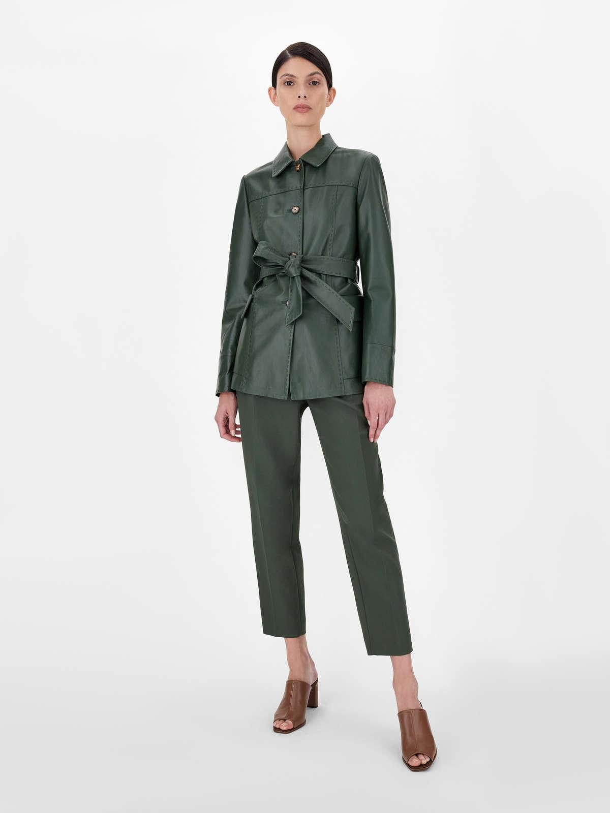 Womens Max Mara Trousers And Jeans | Cotton Crepe Trousers Dark Green