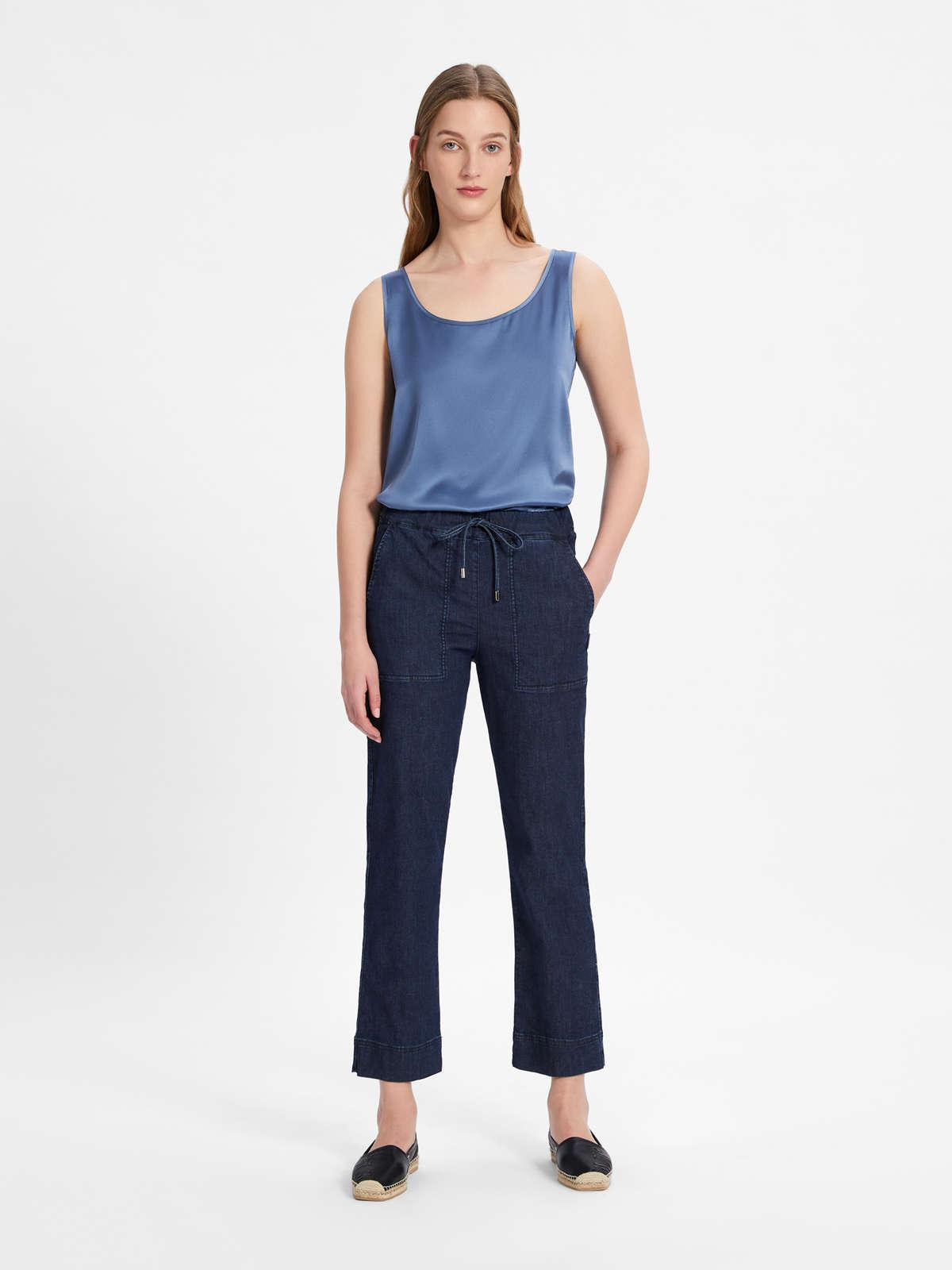 Womens Max Mara Trousers And Jeans | Cotton Denim Trousers Midnightblue