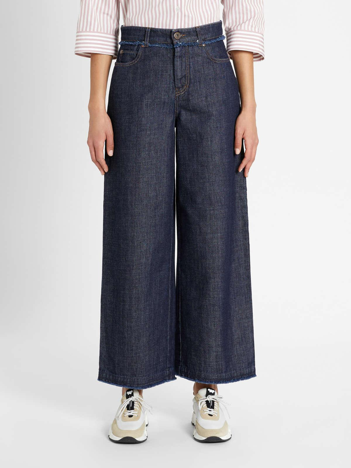 Womens Max Mara Trousers And Jeans | Cotton Denim Trousers Navy