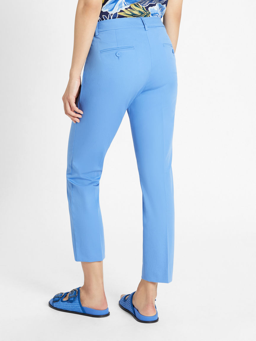 Womens Max Mara Trousers And Jeans   Cotton Gabardine Trousers Light Blue