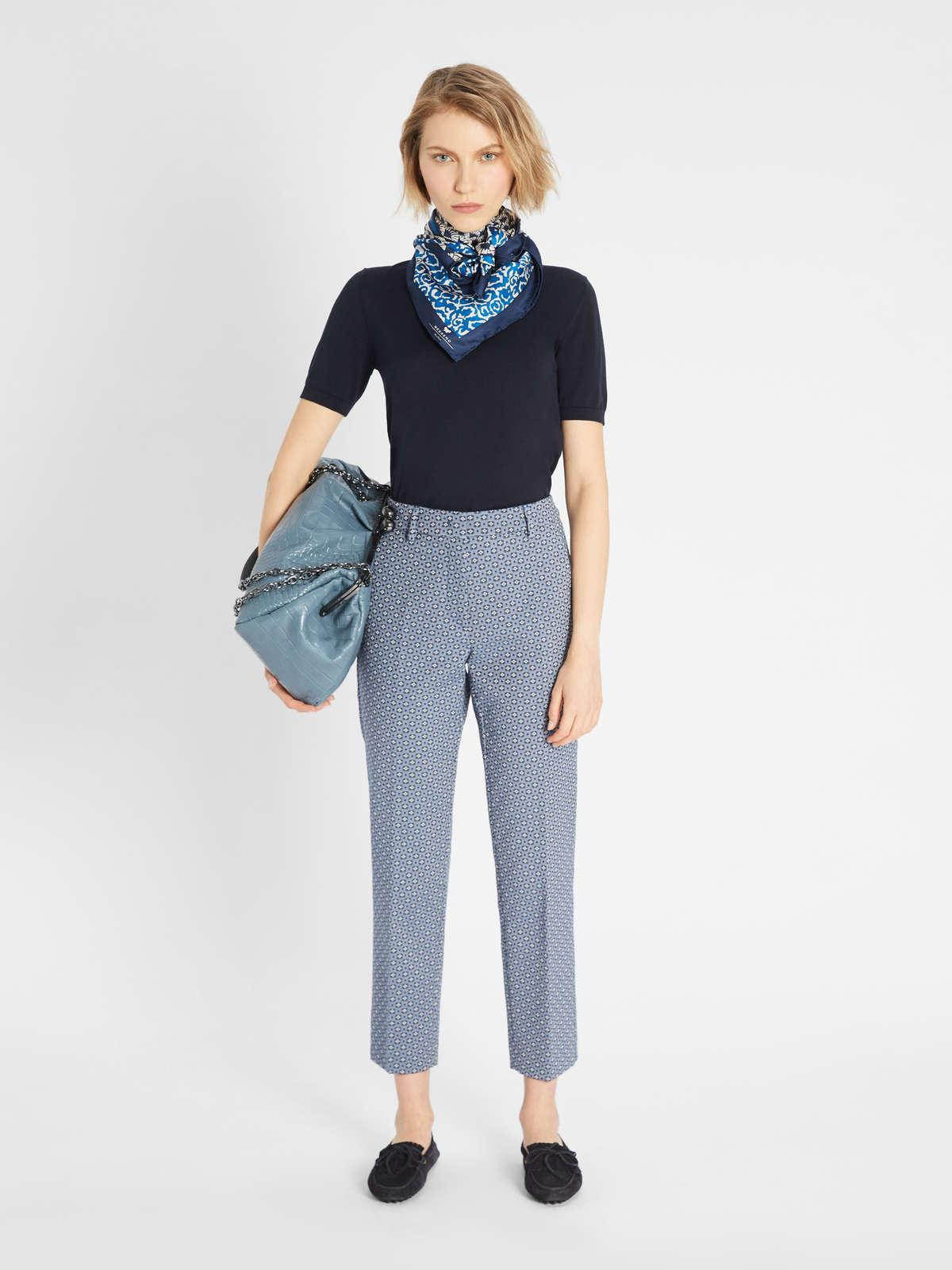 Womens Max Mara Trousers And Jeans | Cotton Jacquard Trousers Avio